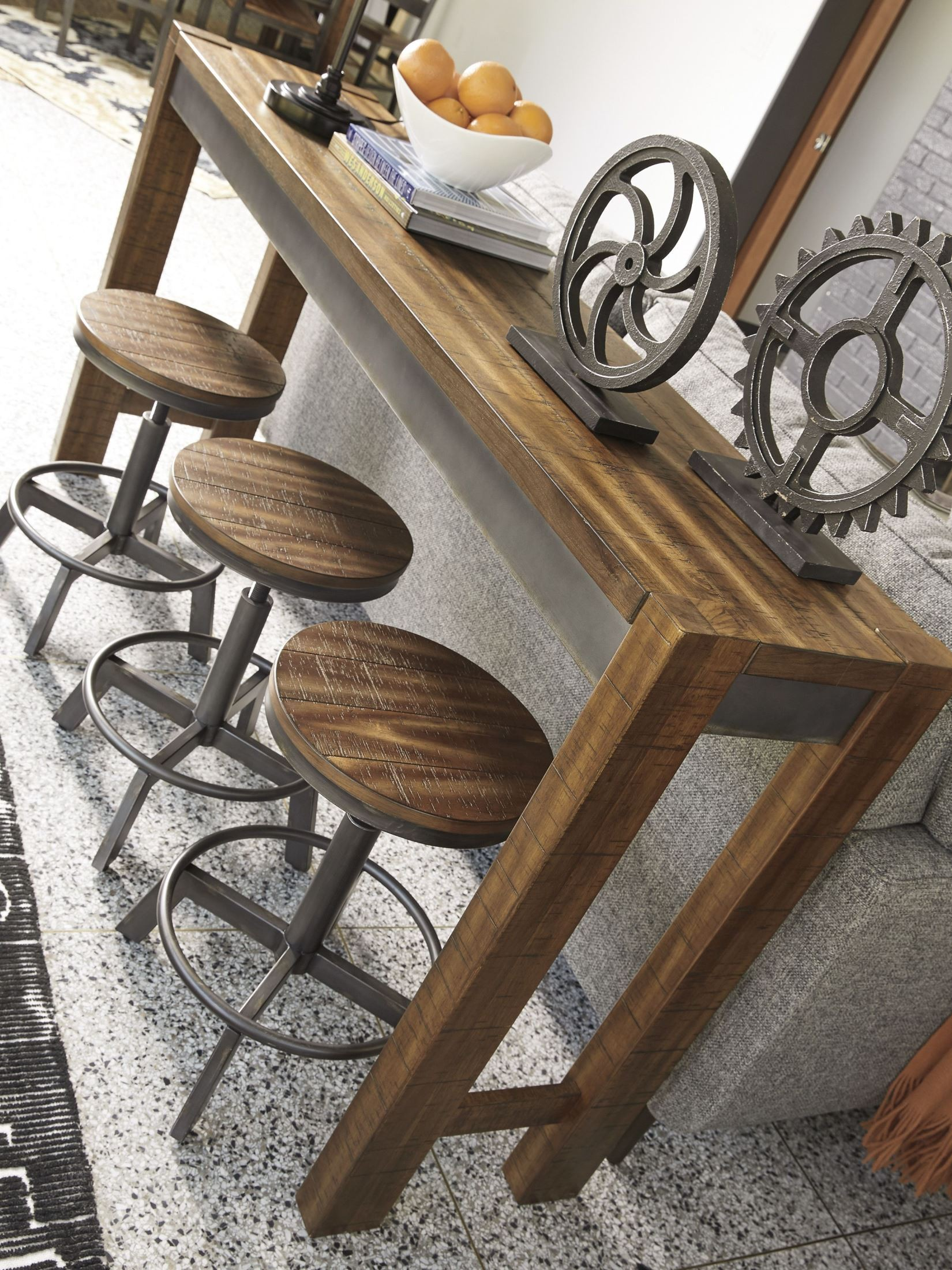 Torjin Brown And Gray Stool Set Of 2 From Ashley Coleman