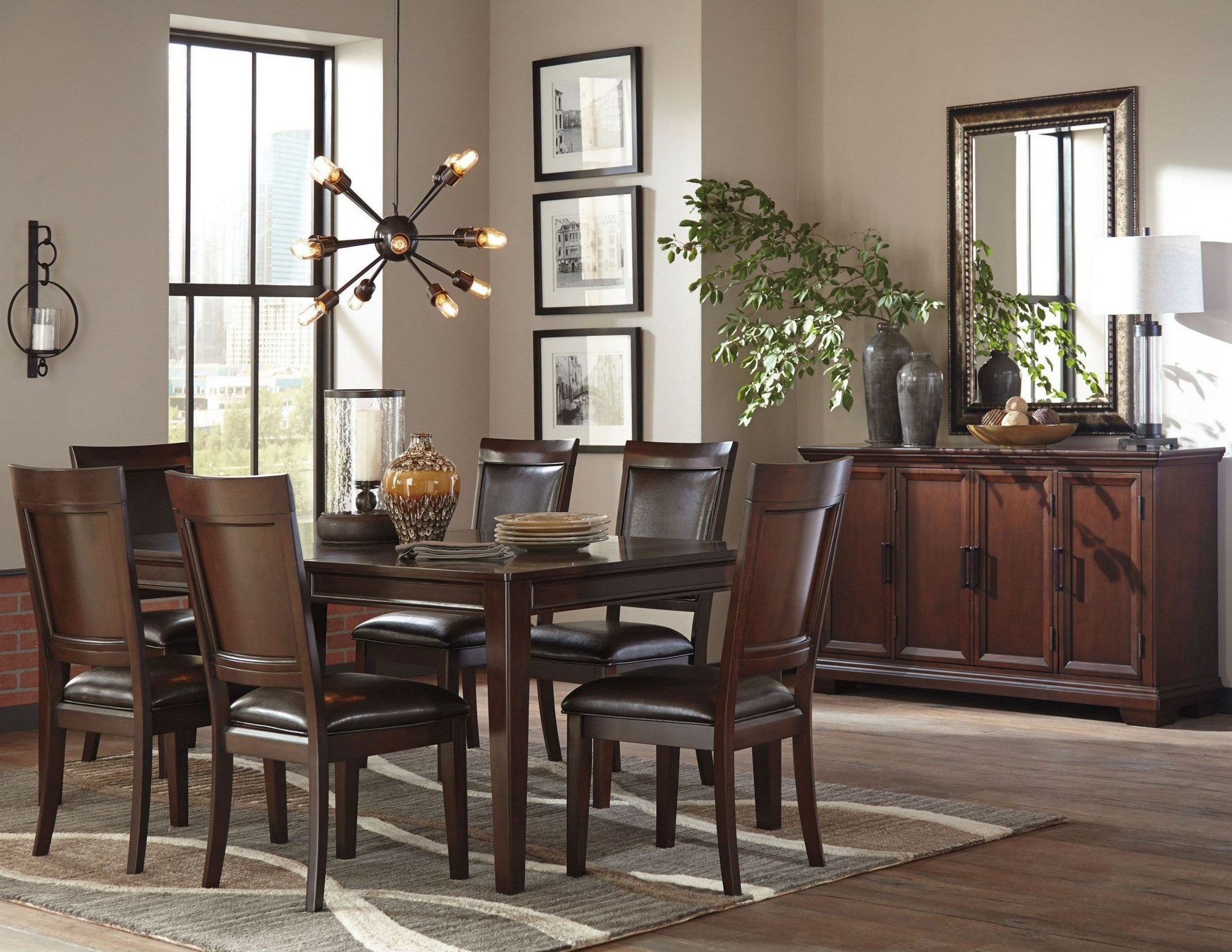 Shadyn Brown Rectangular Extendable Dining Room Set From