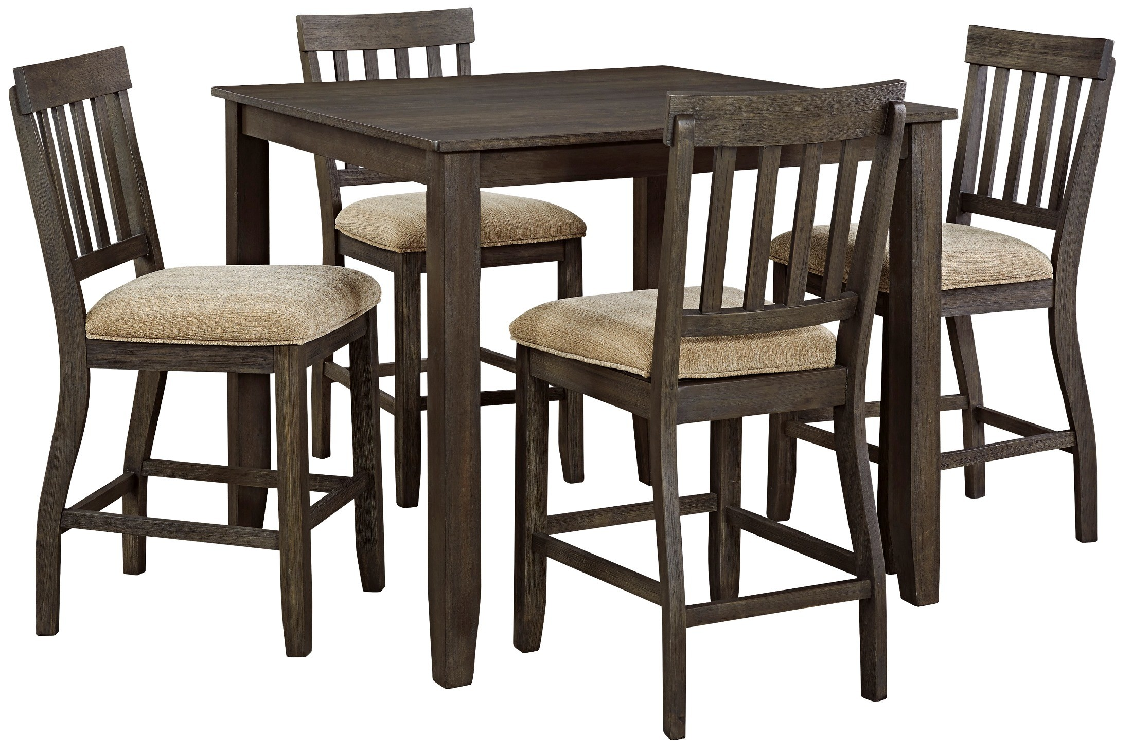 dresbar grayish brown square counter height dining room set from ashley coleman furniture. Black Bedroom Furniture Sets. Home Design Ideas