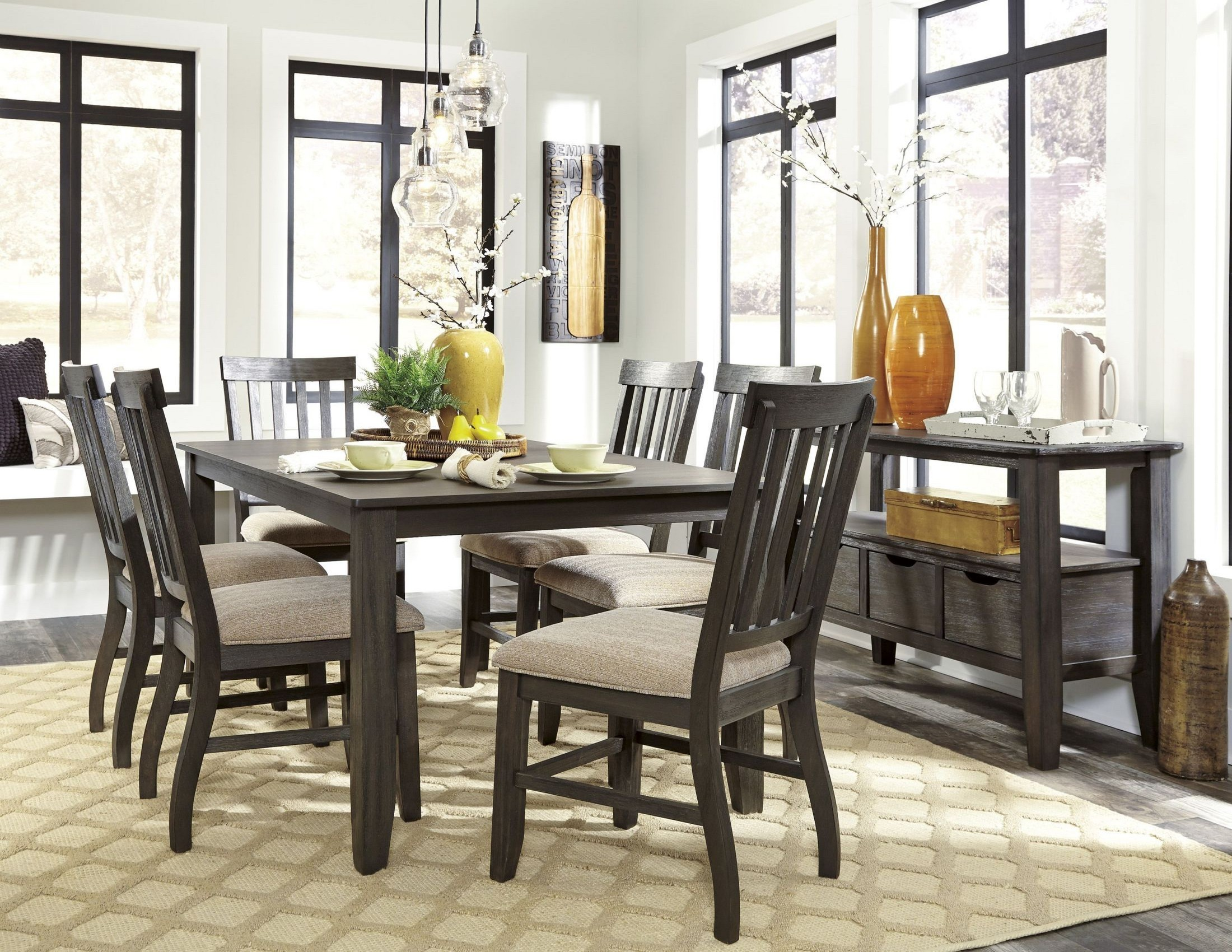 Dresbar grayish brown rectangular dining room set from for Brown dining room set