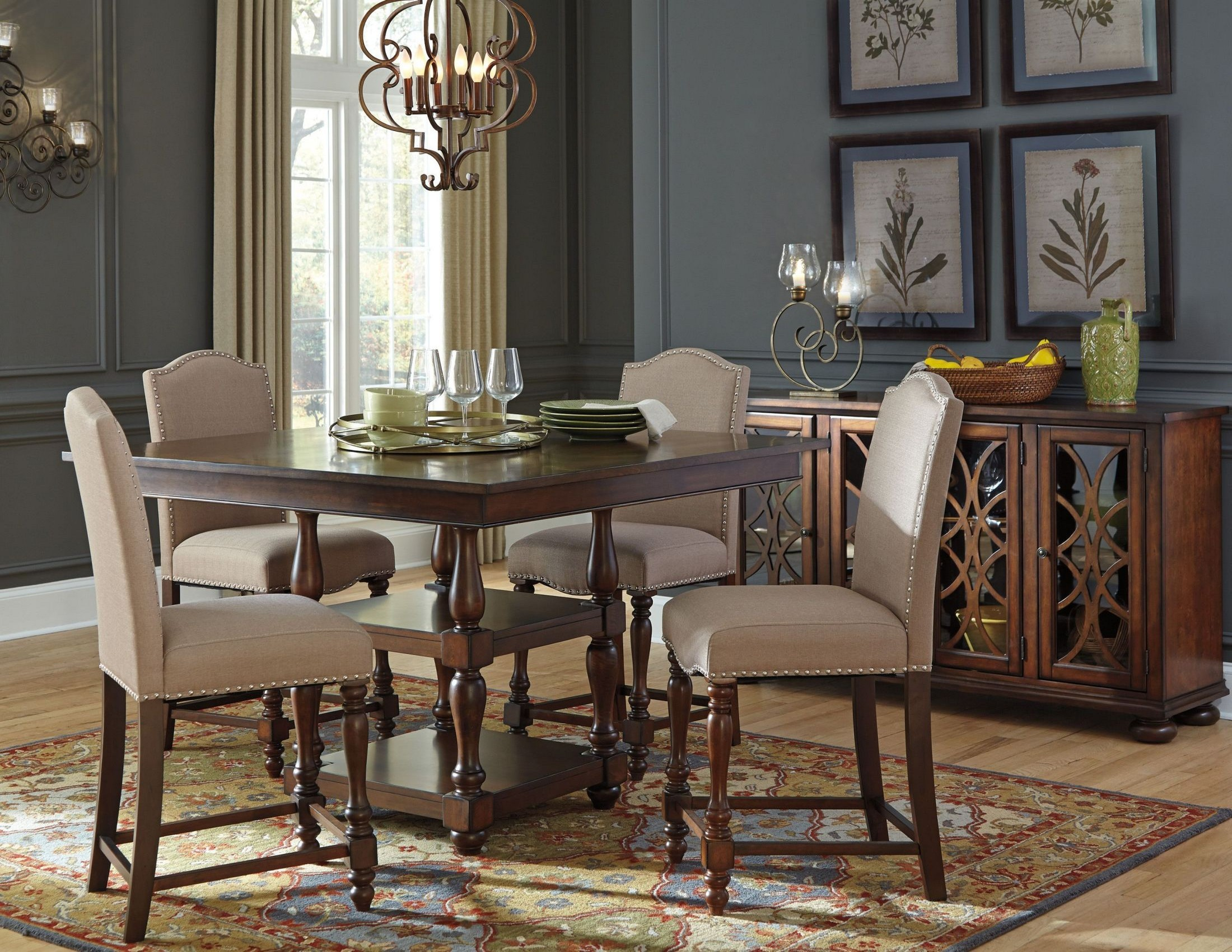 Baxenburg Brown Square Counter Height Dining Room Set From
