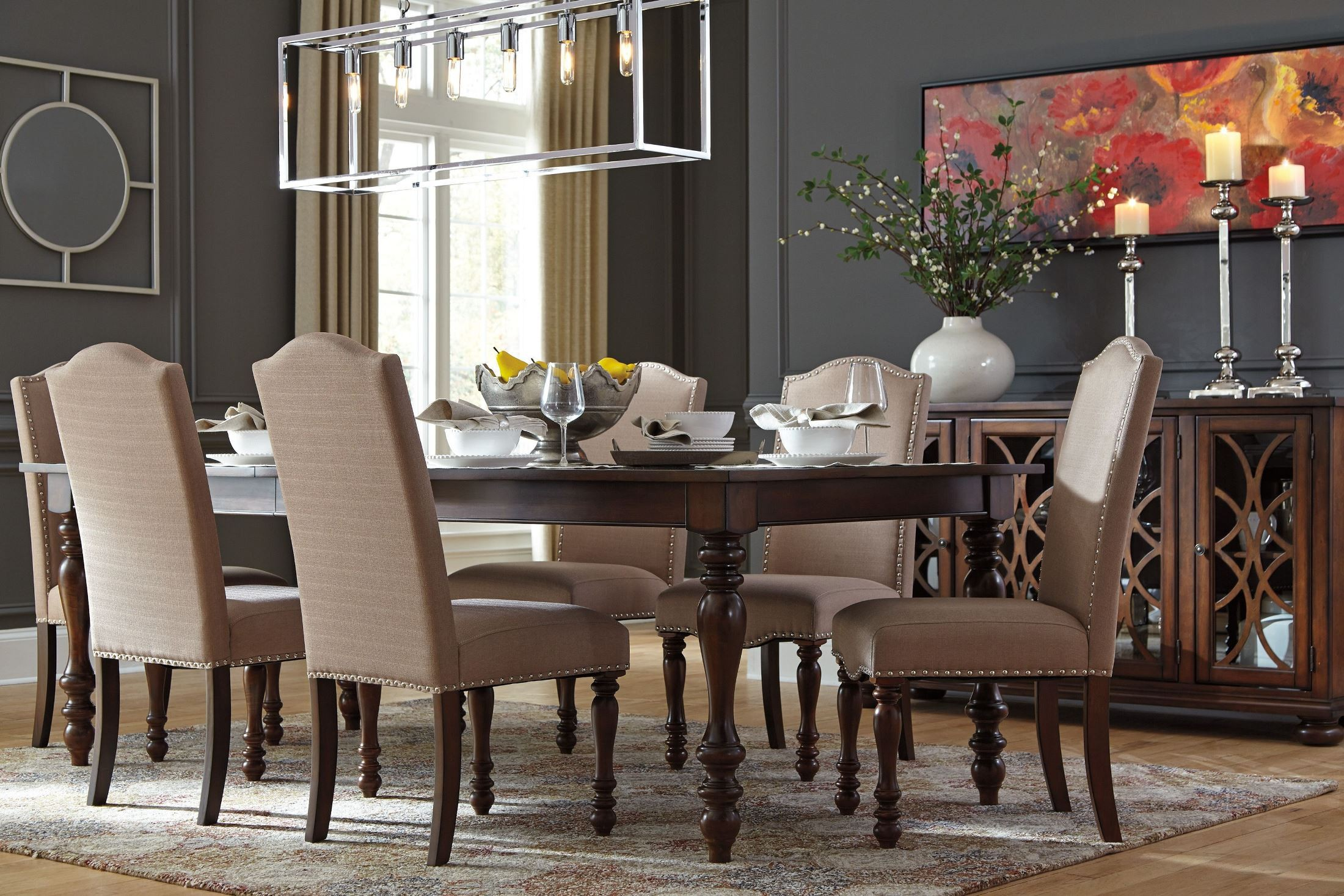 rooms to go dining room table | Baxenburg Brown Extendable Rectangular Dining Table from ...