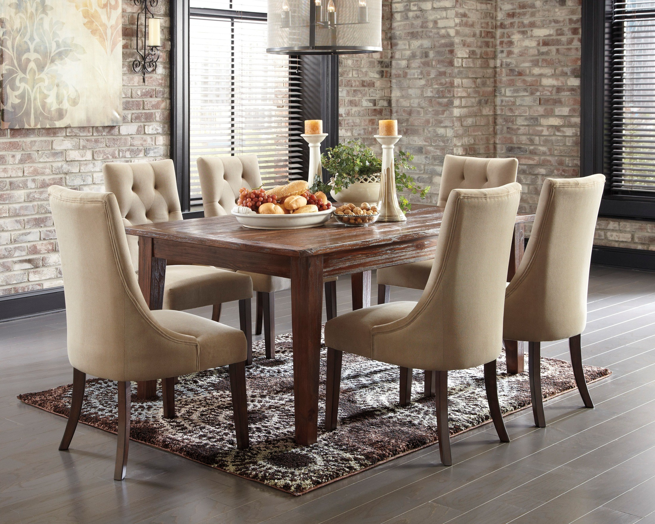 Room dining room groups mestler bisque rectangular dining room table - Mestler Dark Brown Dining Room Set From Ashley D540125 Coleman Furniture