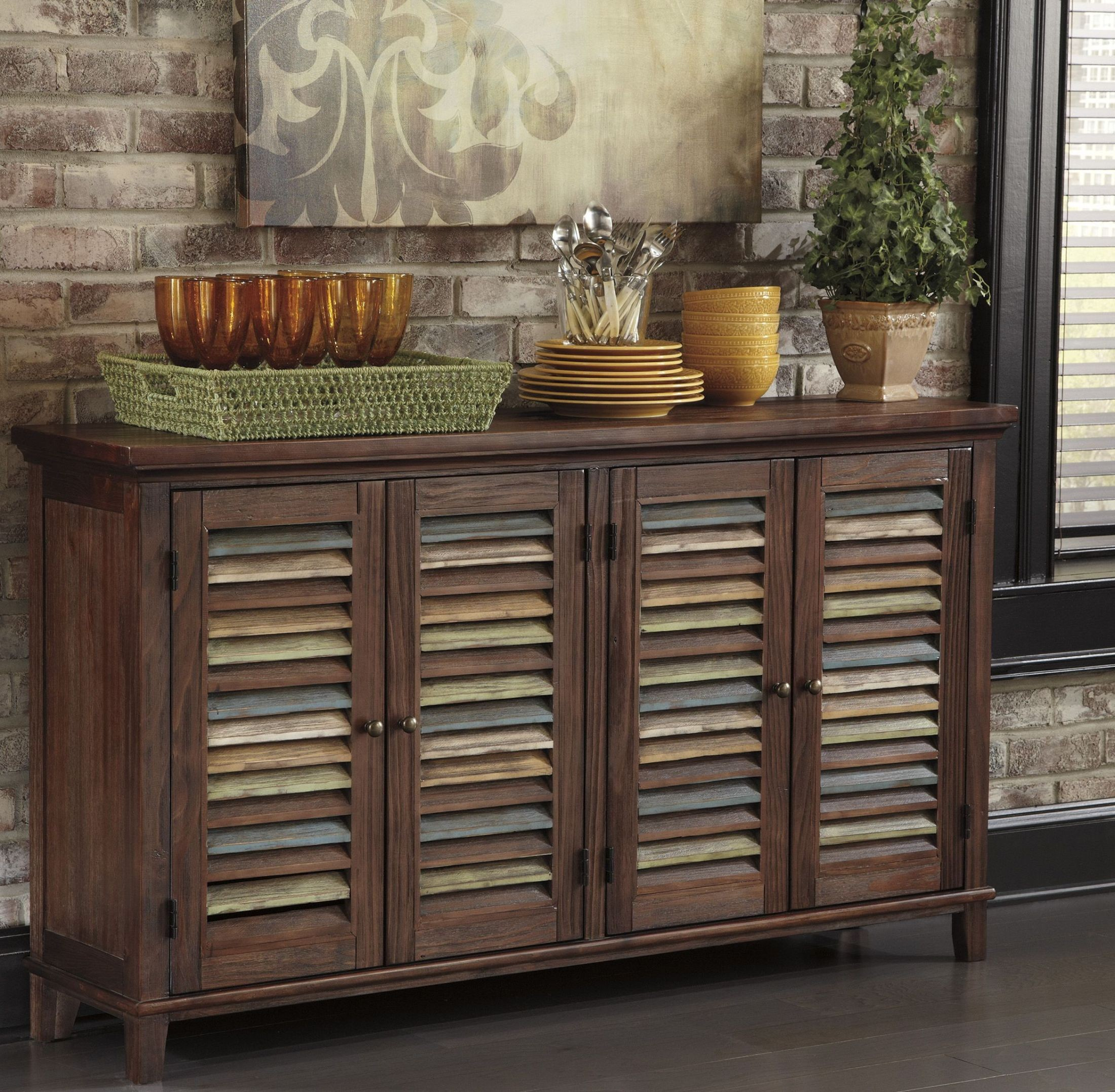 Mestler dark brown dining room server from ashley d540 for Dark brown dining room