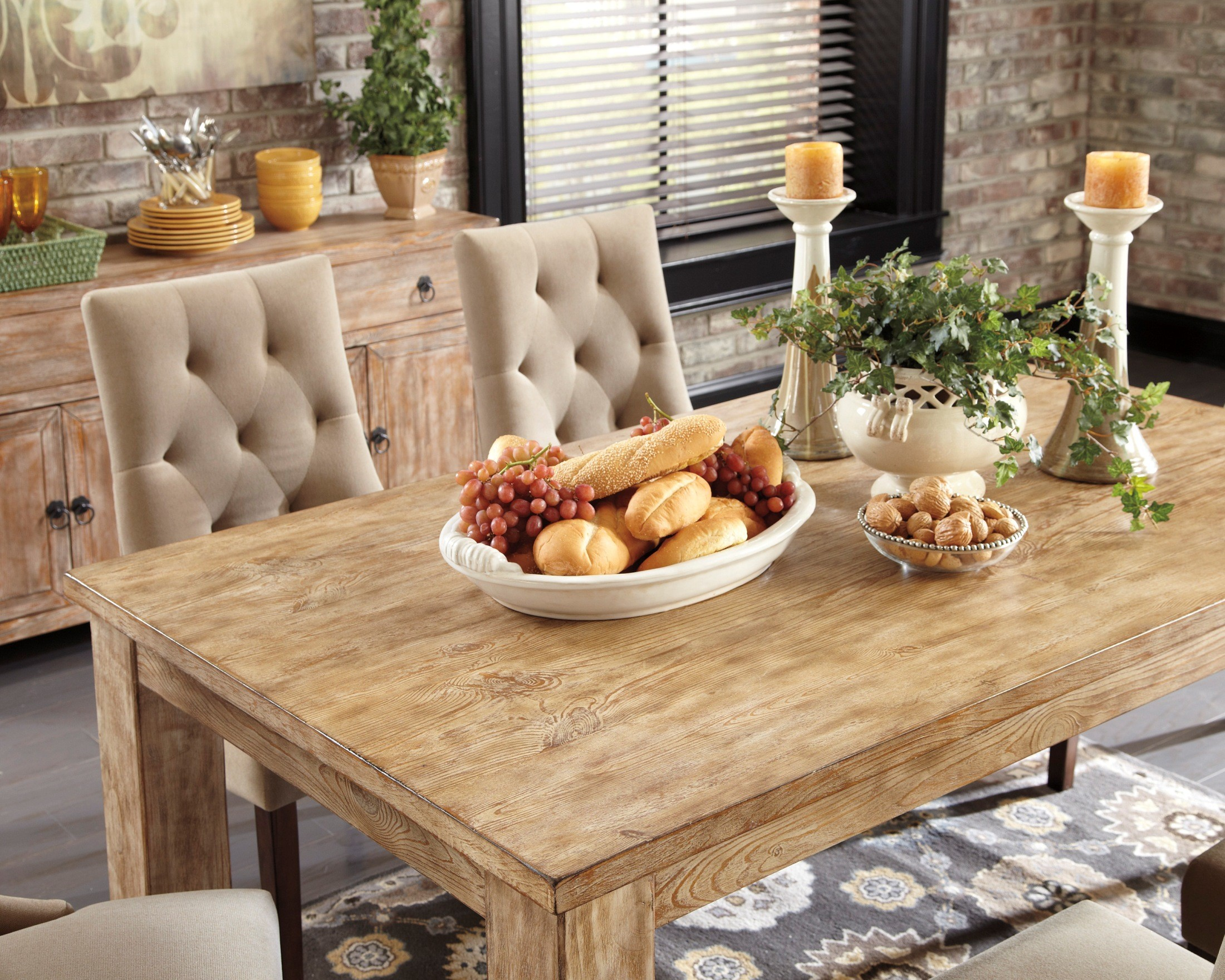 Room dining room groups mestler bisque rectangular dining room table - Mestler Driftwood Rectangular Dining Room Table From Ashley D540225 Coleman Furniture