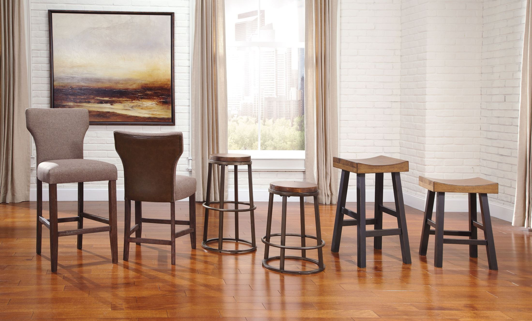 Glosco Two-tone Tall Stool Set Of 2 From Ashley (D548-030