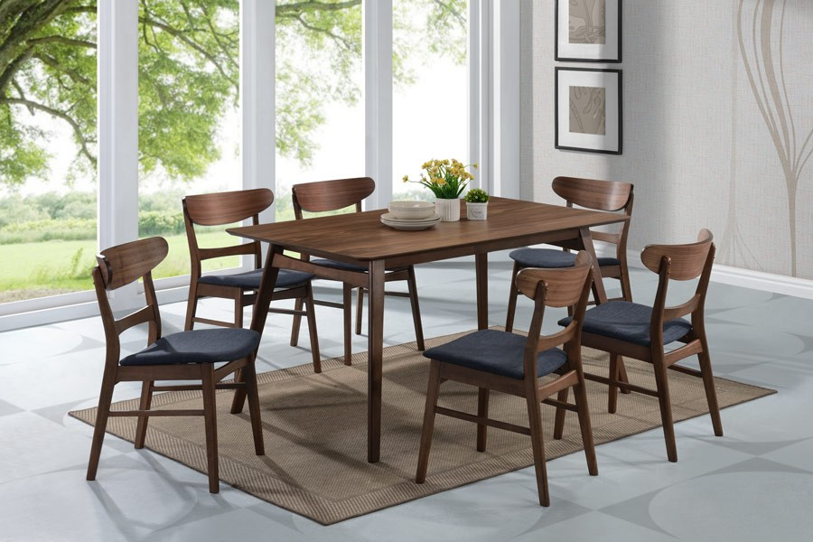 Simplicity Walnut Rectangular Dining Room Set From Emerald