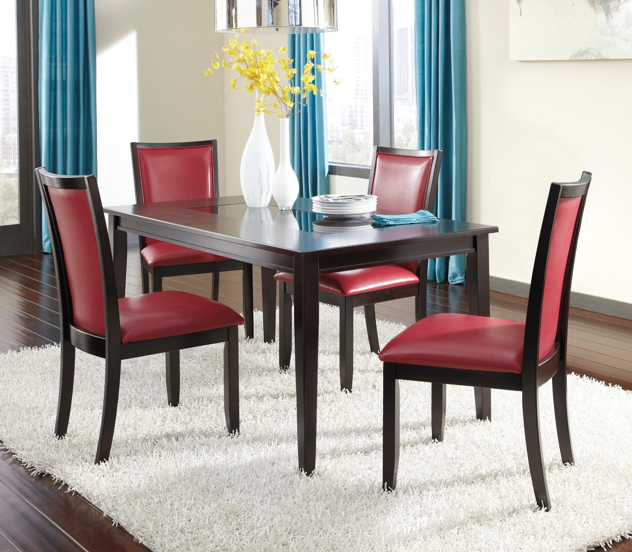 Red Upholstered Dining Room Chairs: Trishelle Dining Upholstered Red Side Chair Set Of 2 From
