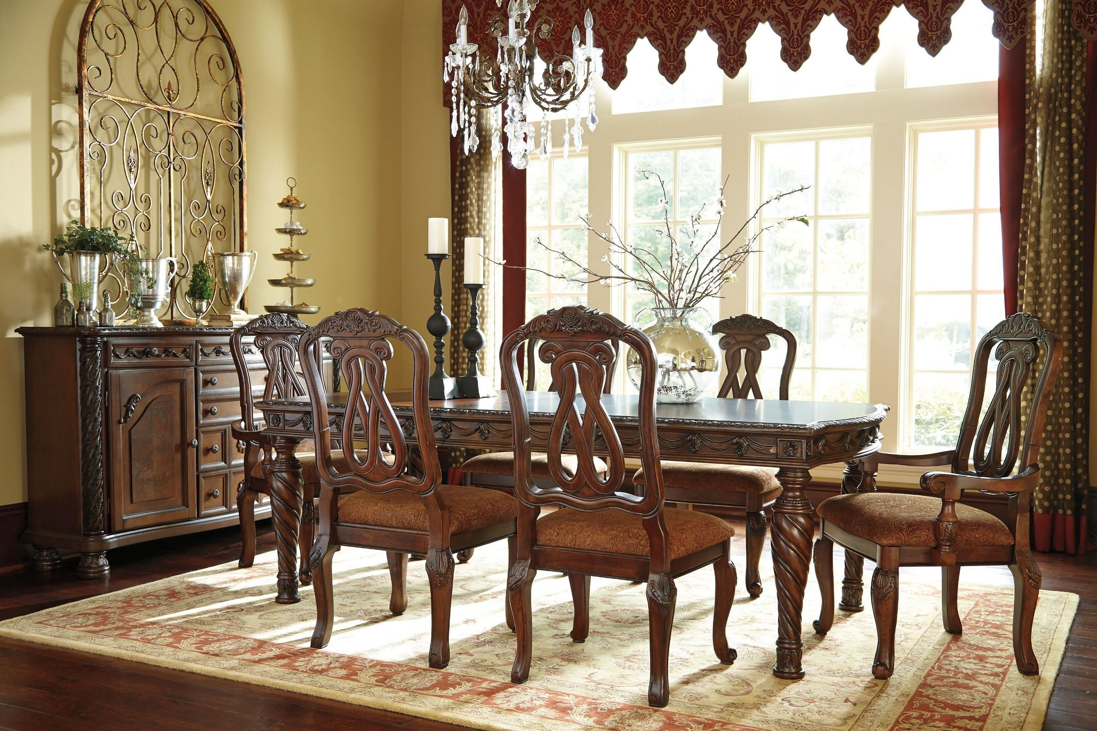 North shore rectangular extendable dining room set from for Black front room furniture