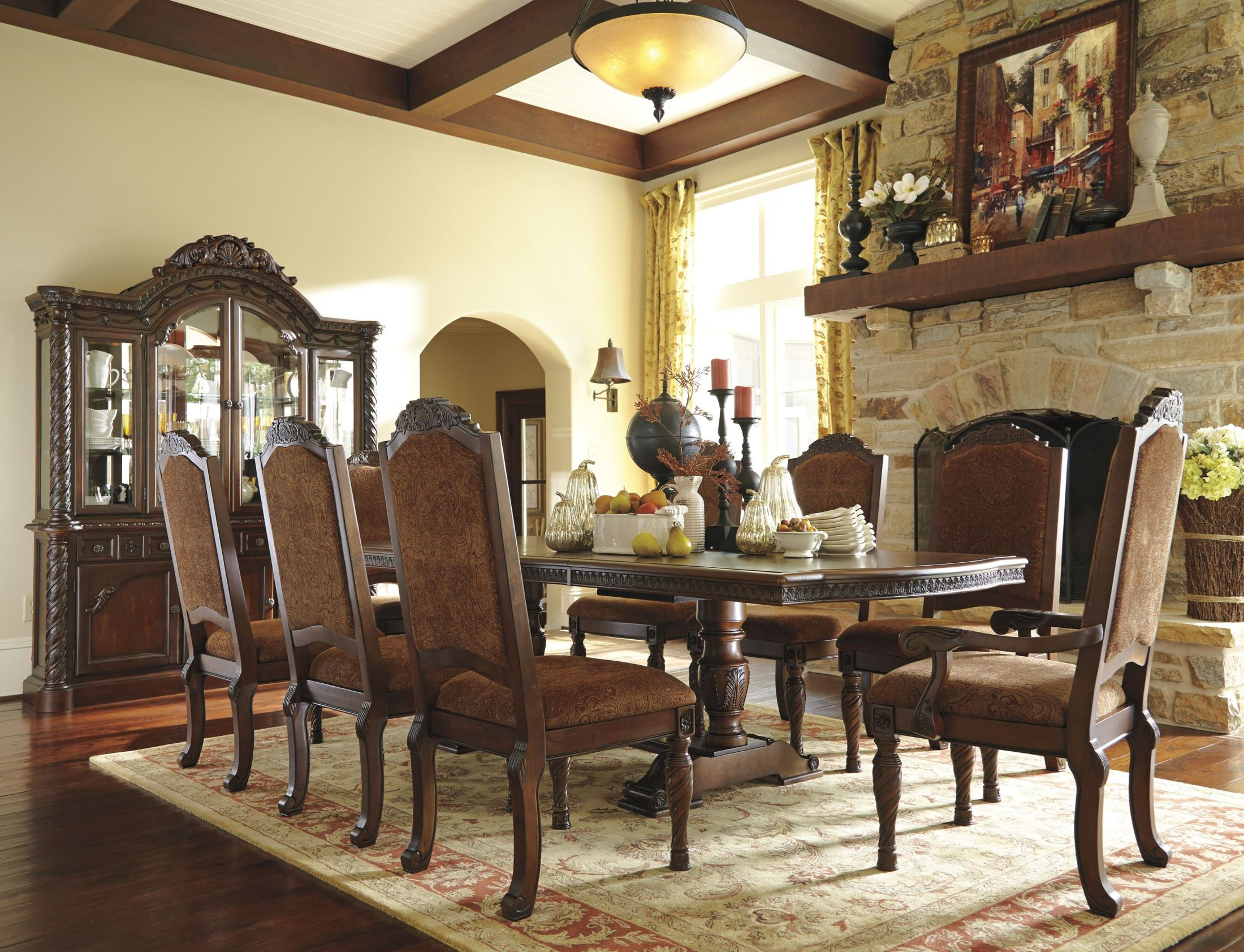 North shore double pedestal extendable dining room set for Dining room furnishings