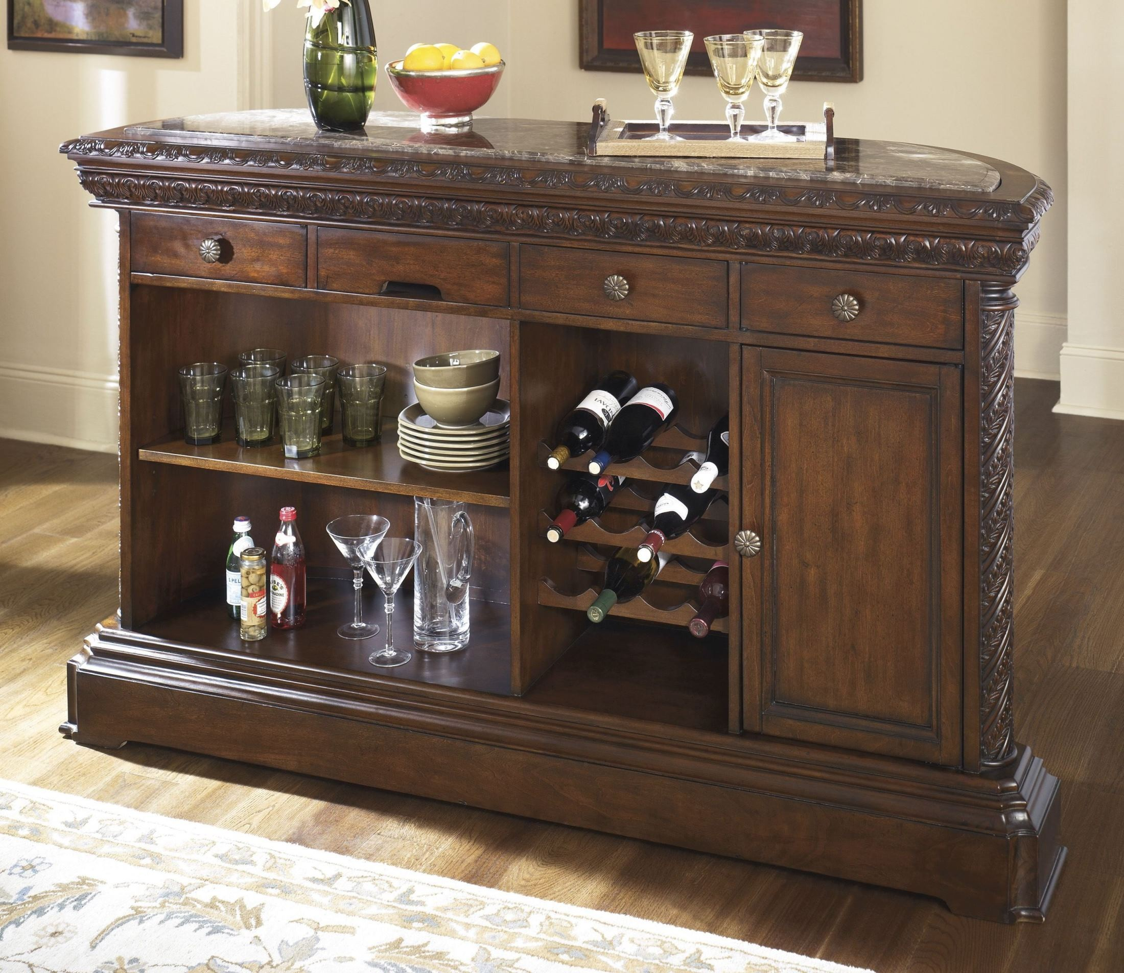 North Shore Marble Bar Set From Ashley D553 65 Coleman