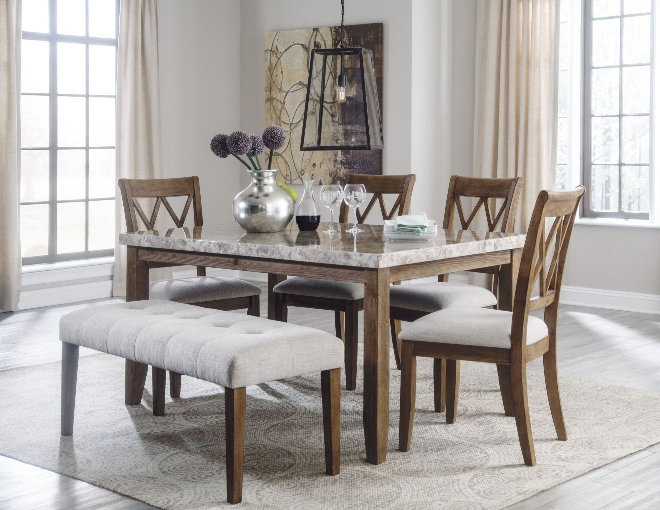 Narvilla two tone rectangular dining room set from ashley for 2 tone dining room sets