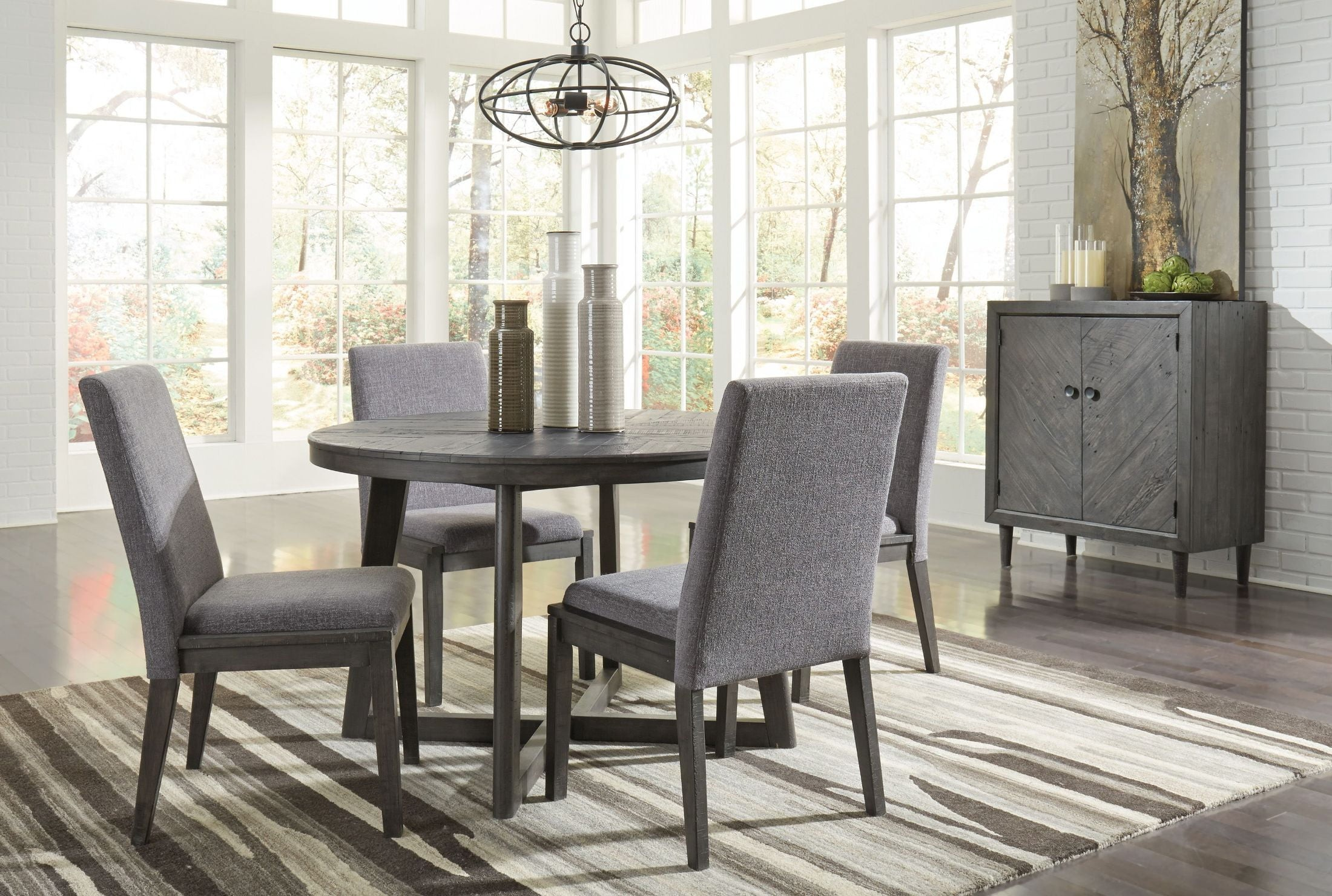 Besteneer gray round dining room set from ashley coleman furniture besteneer gray round dining room set dzzzfo