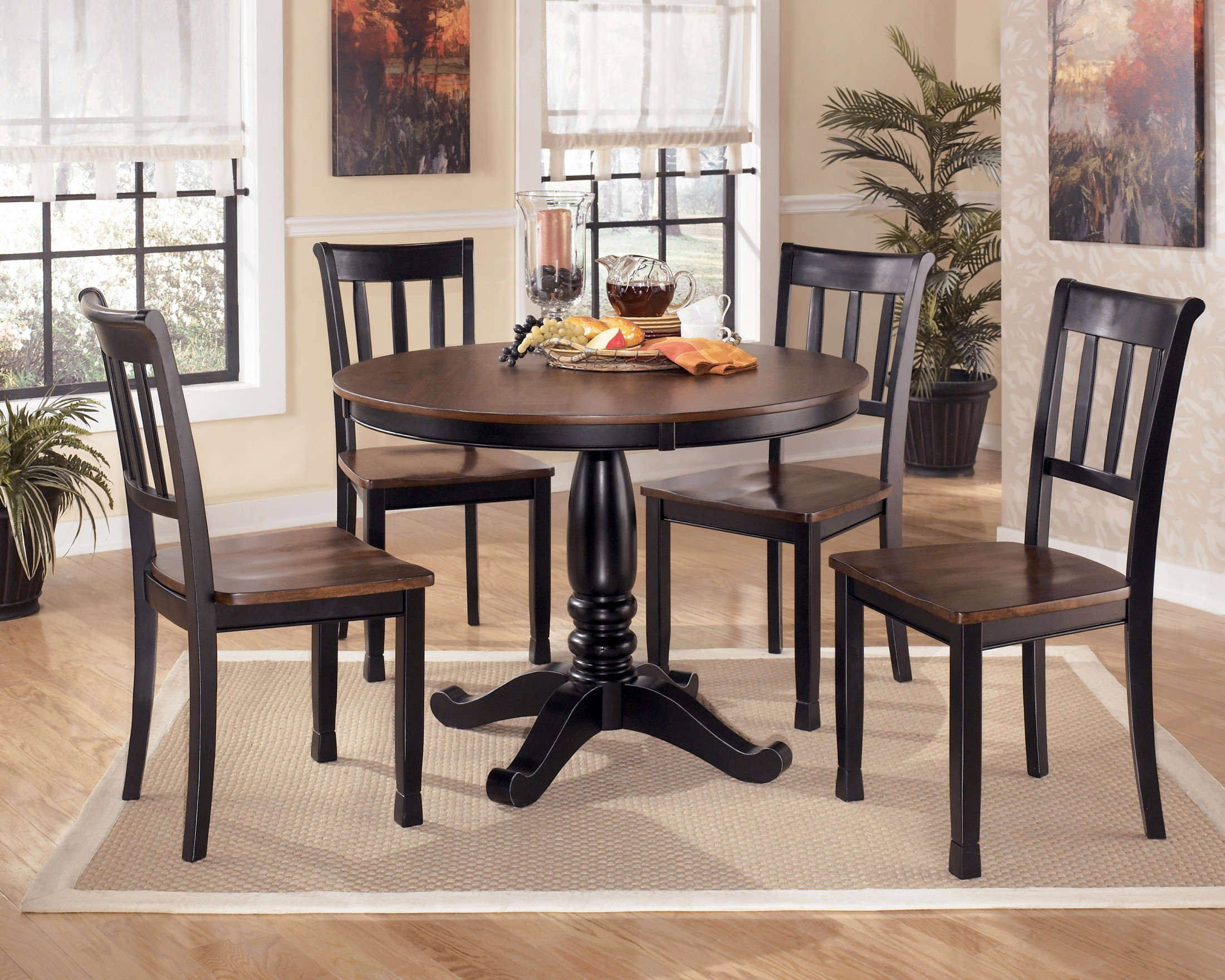 ashley dining room sets owingsville round dining room set from ashley d580 coleman furniture 7353