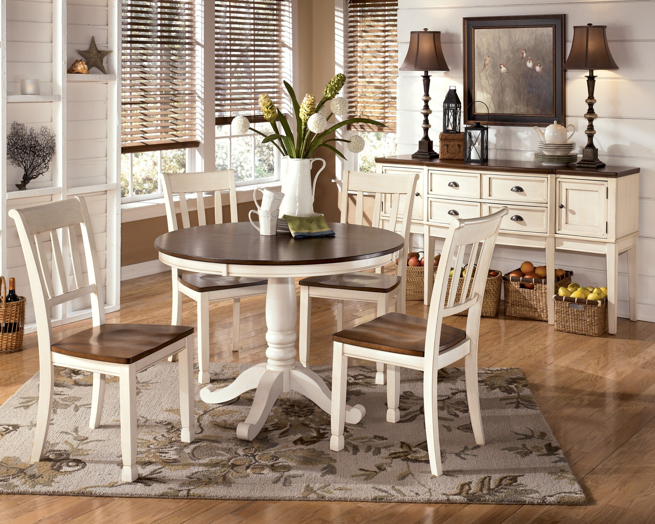 Whitesburg Round Dining Room Set from Ashley (D583-15B-15T ...