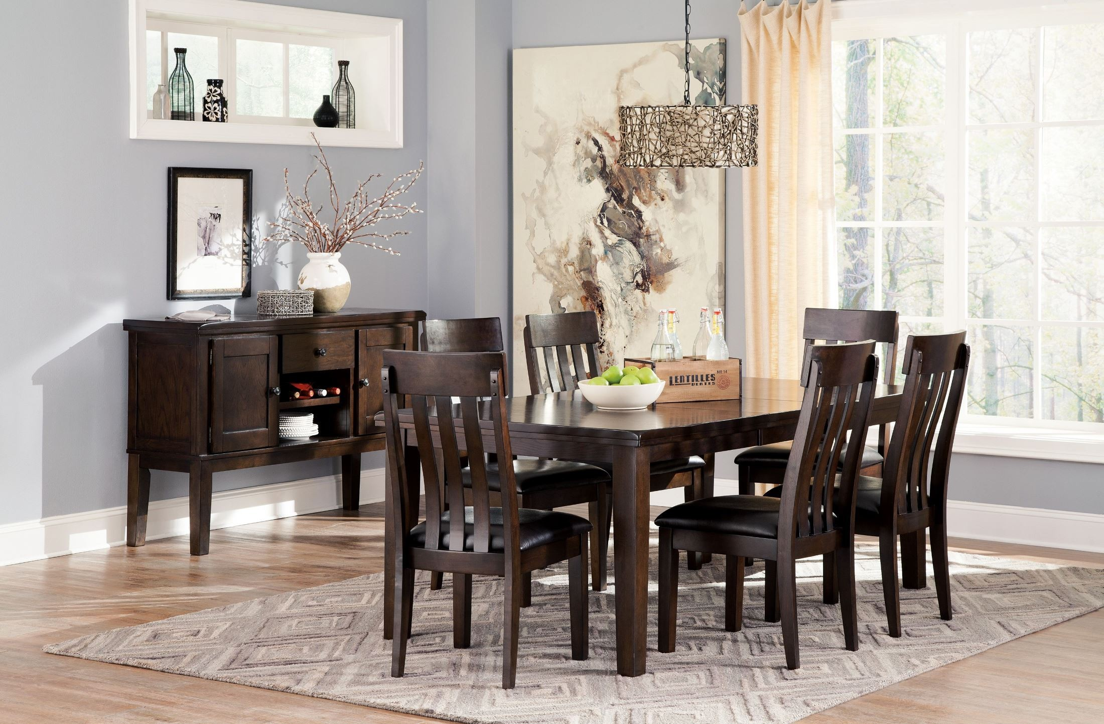 Haddigan dark brown rectangular extendable dining room set for Brown dining room set