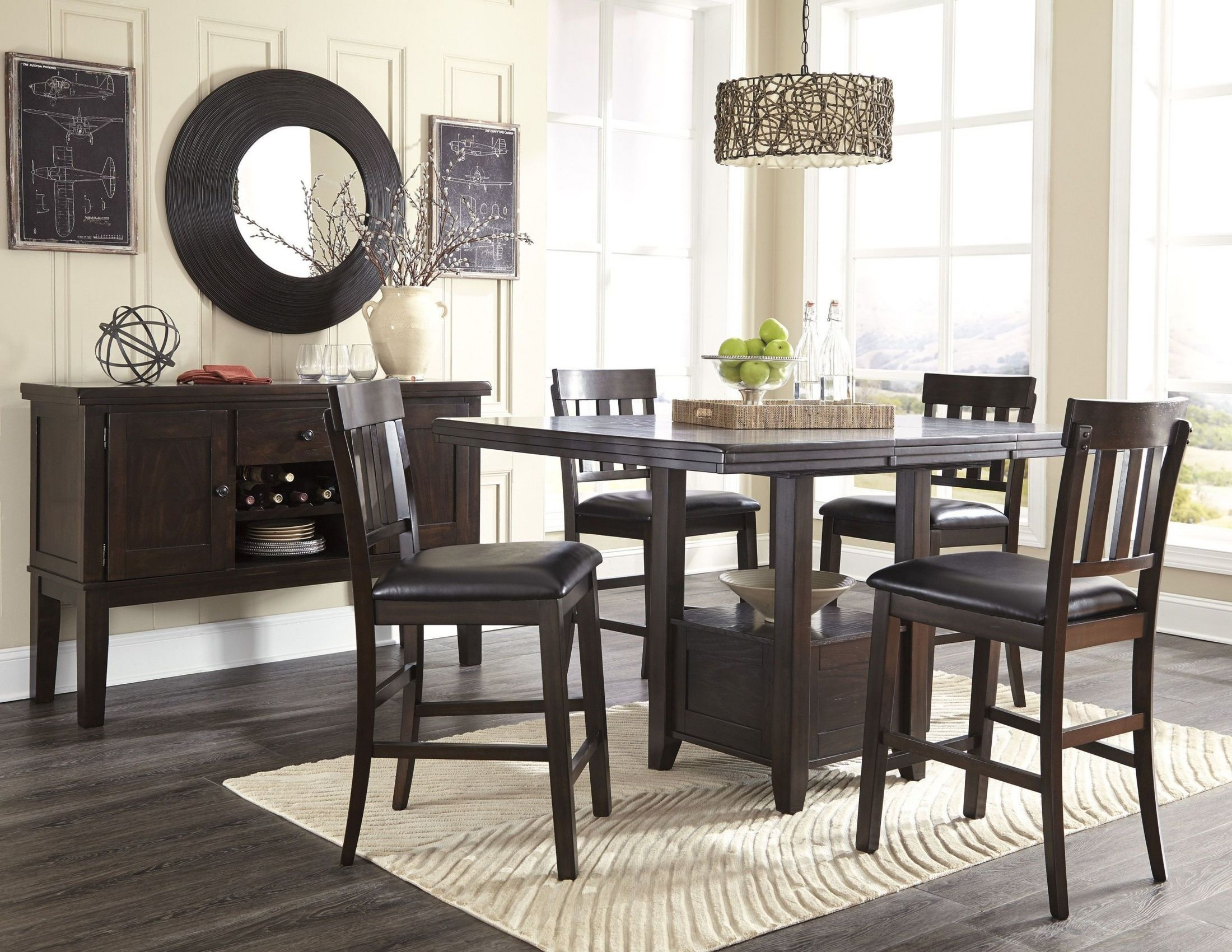 Haddigan dark brown rectangular extendable counter height for Brown dining room set