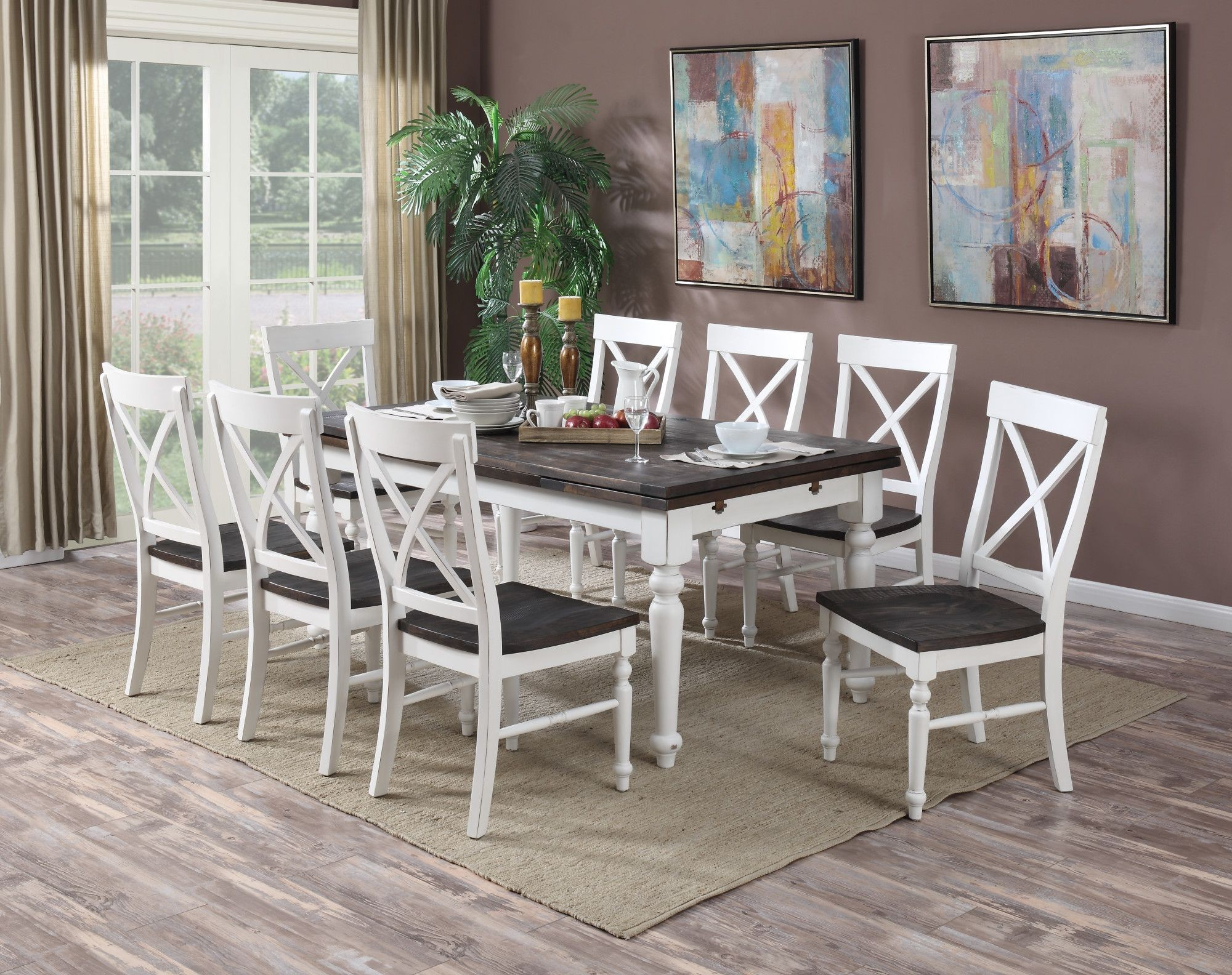 Mountain Retreat Brown And White Extendable Rectangular Dining Room Set,  D601 10 D601 20, Emerald Home Furnishings