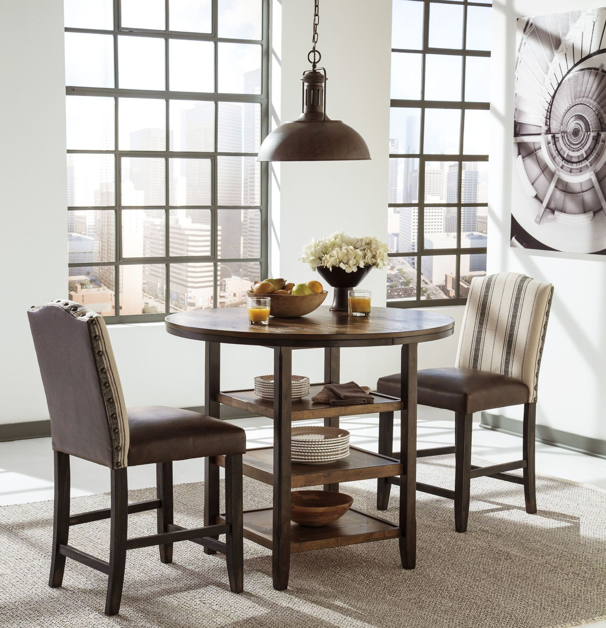 Counter Dining Room Sets: Moriann Round Counter Dining Room Set From Ashley (D608-13