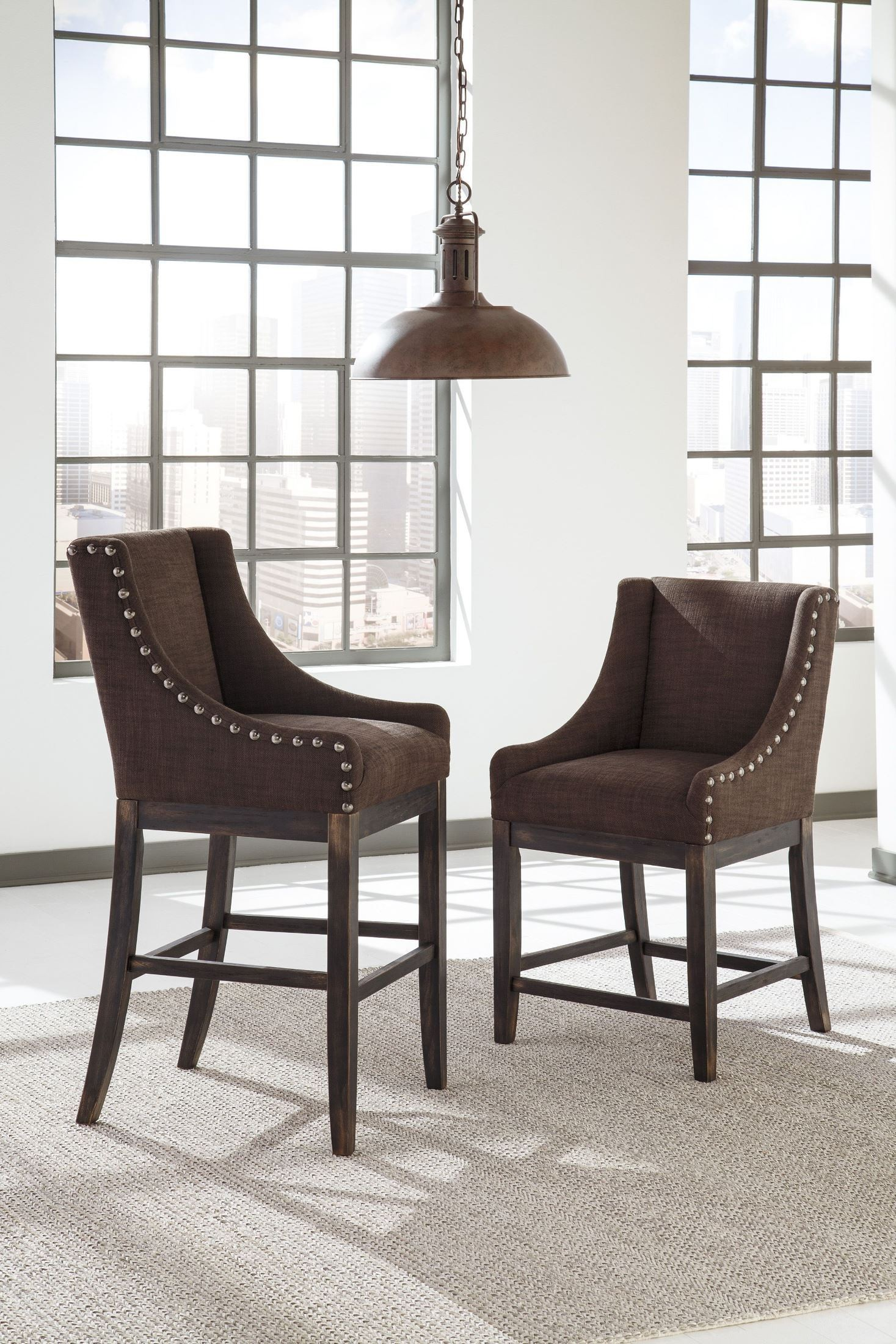 Moriann Dark Brown Tall Upholstered Barstool Set of 2 from Ashley ...