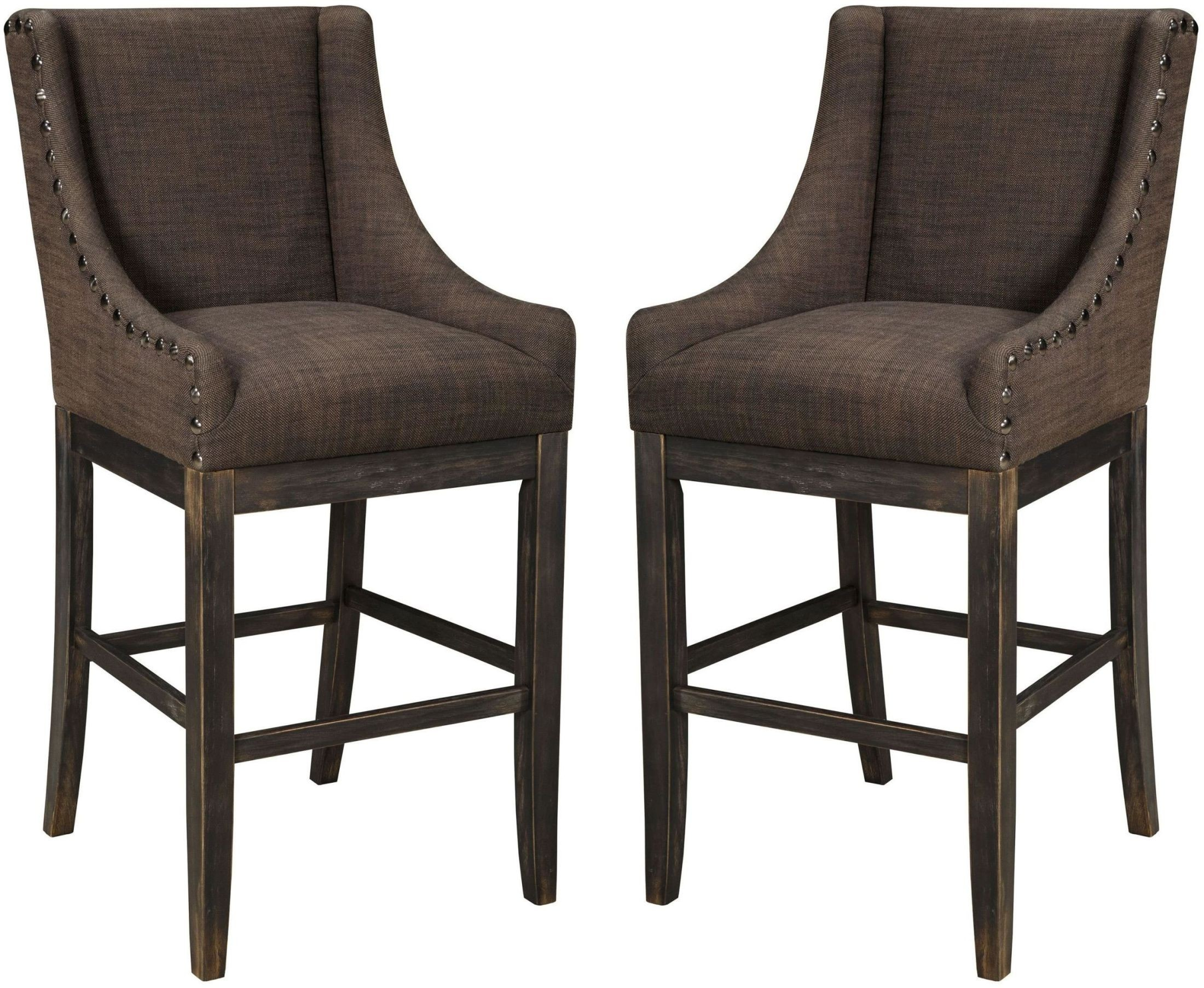 Moriann Dark Brown Tall Upholstered Barstool Set Of 2 From