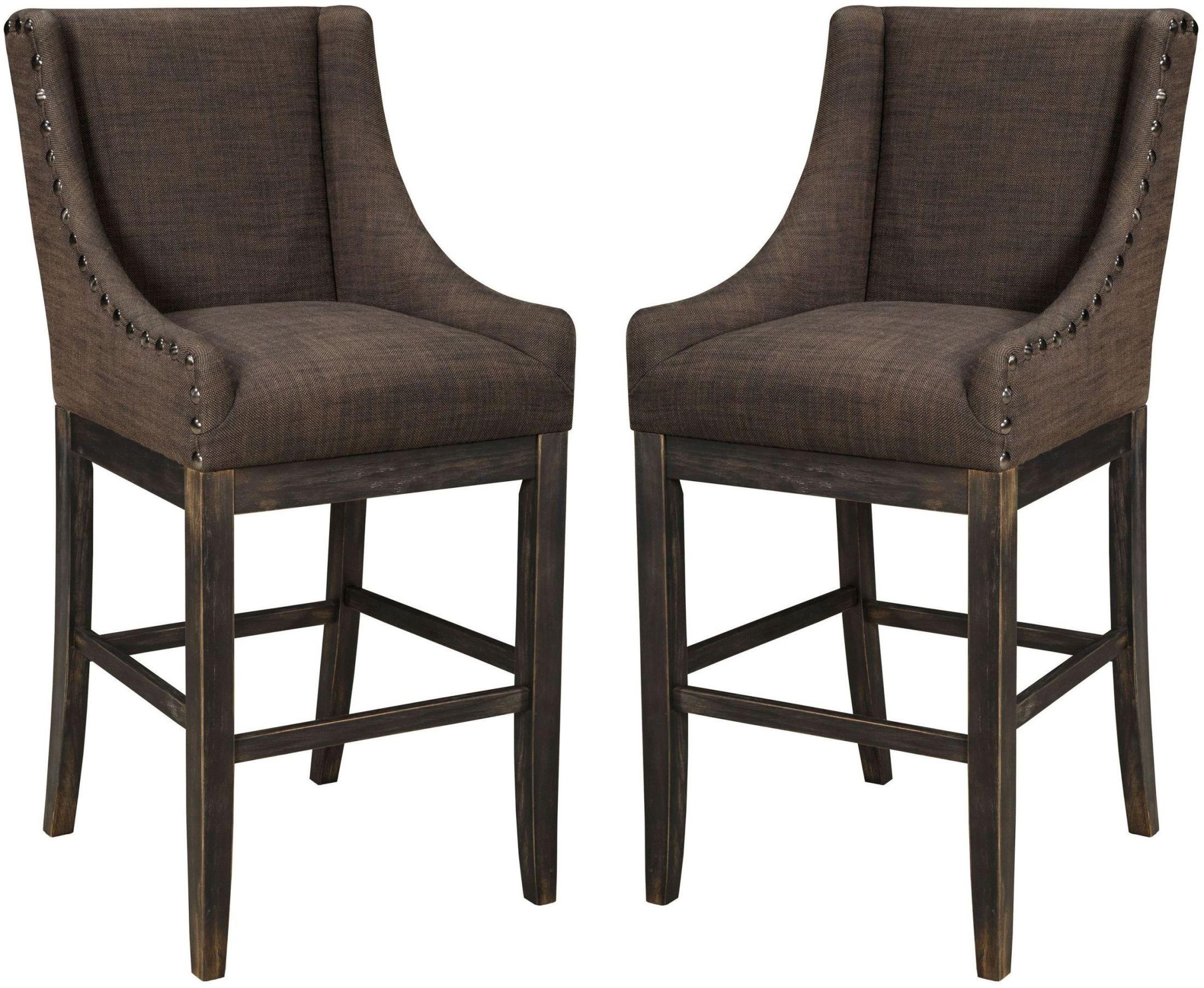 Moriann Dark Brown Tall Upholstered Barstool Set of 2 from Ashley