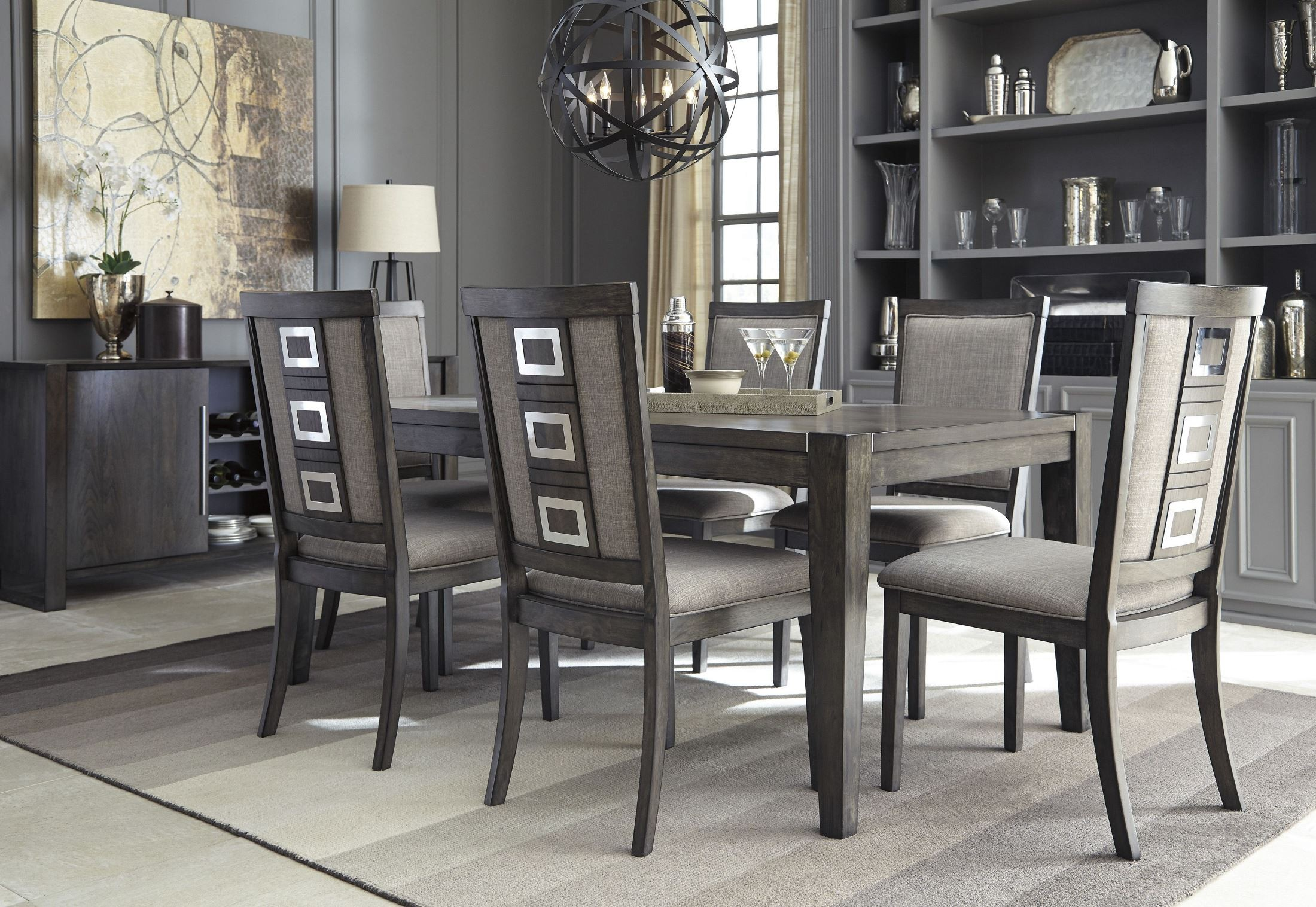 Chadoni gray rectangular extendable dining room set from for Dining room furniture images