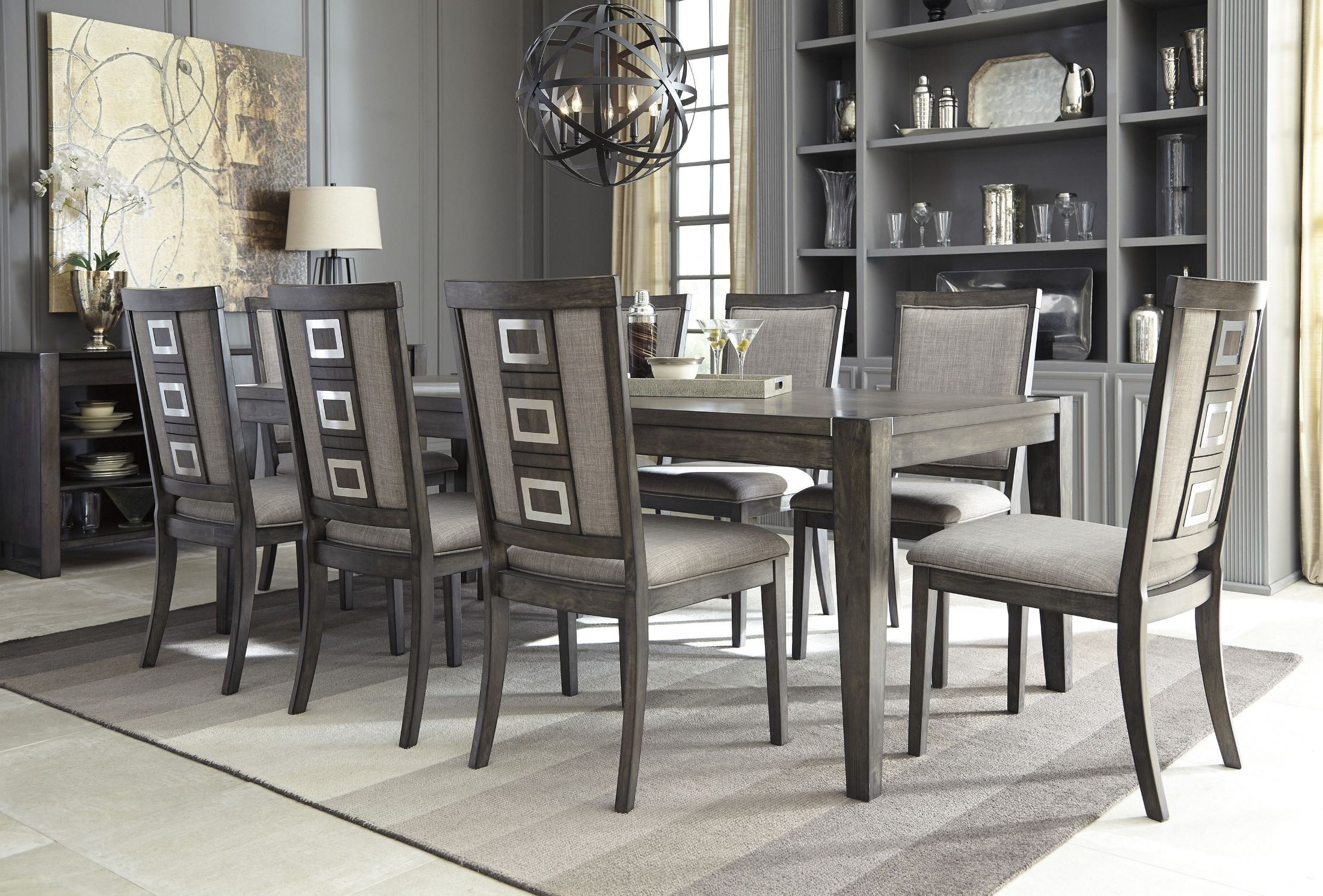 Chadoni gray rectangular extendable dining table from for Dining room extendable table