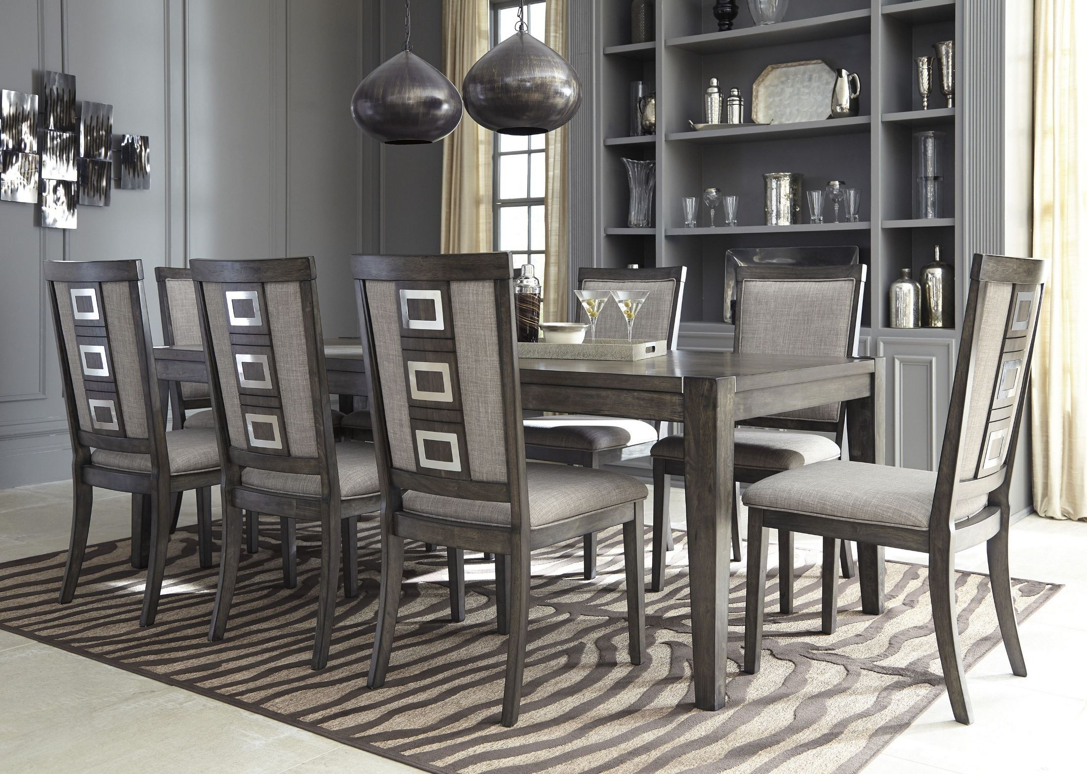 Chadoni gray rectangular extendable dining room set from for Front room furniture sets