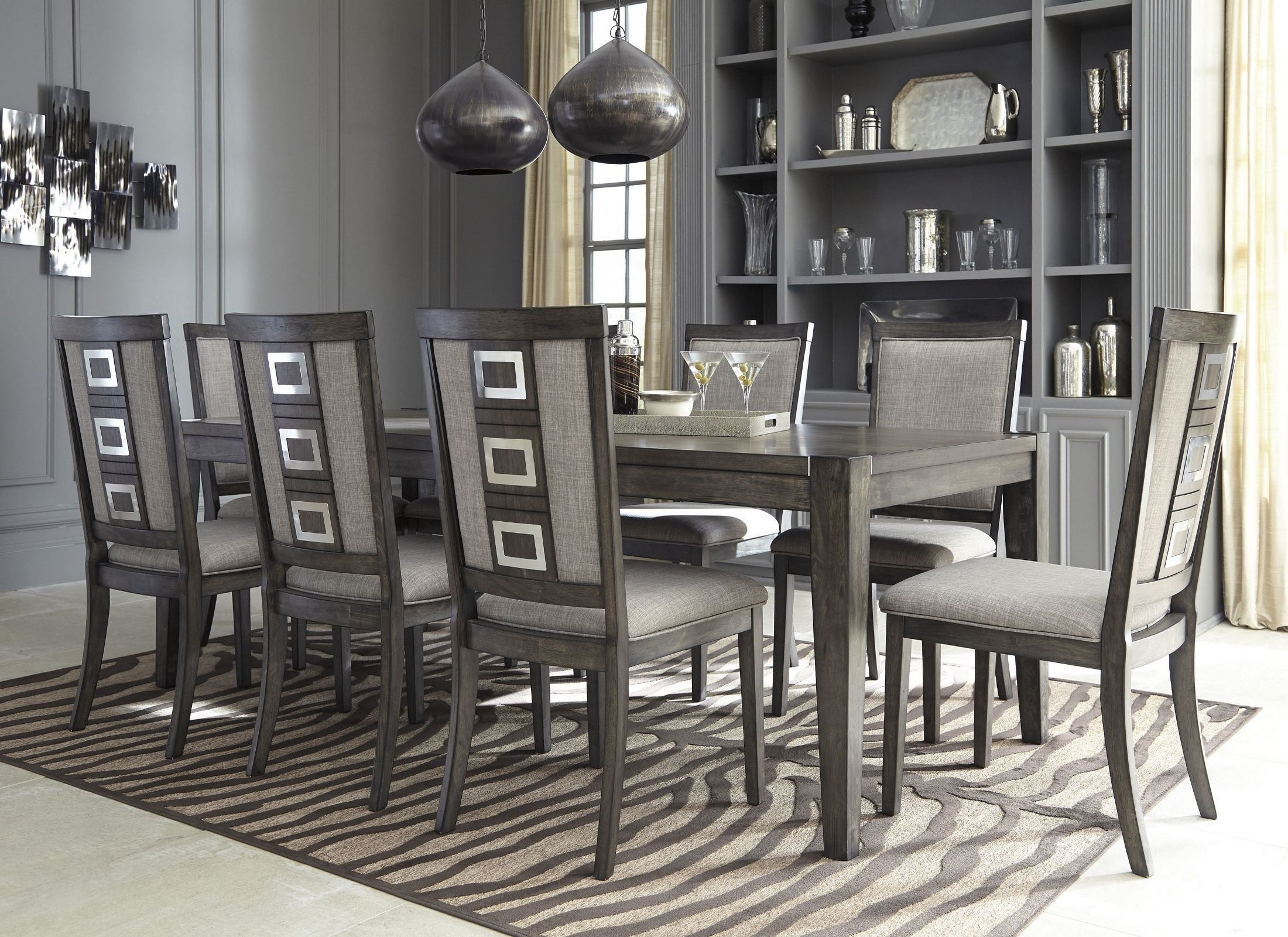 Chadoni gray rectangular extendable dining room set from ashley 2298688 dzzzfo