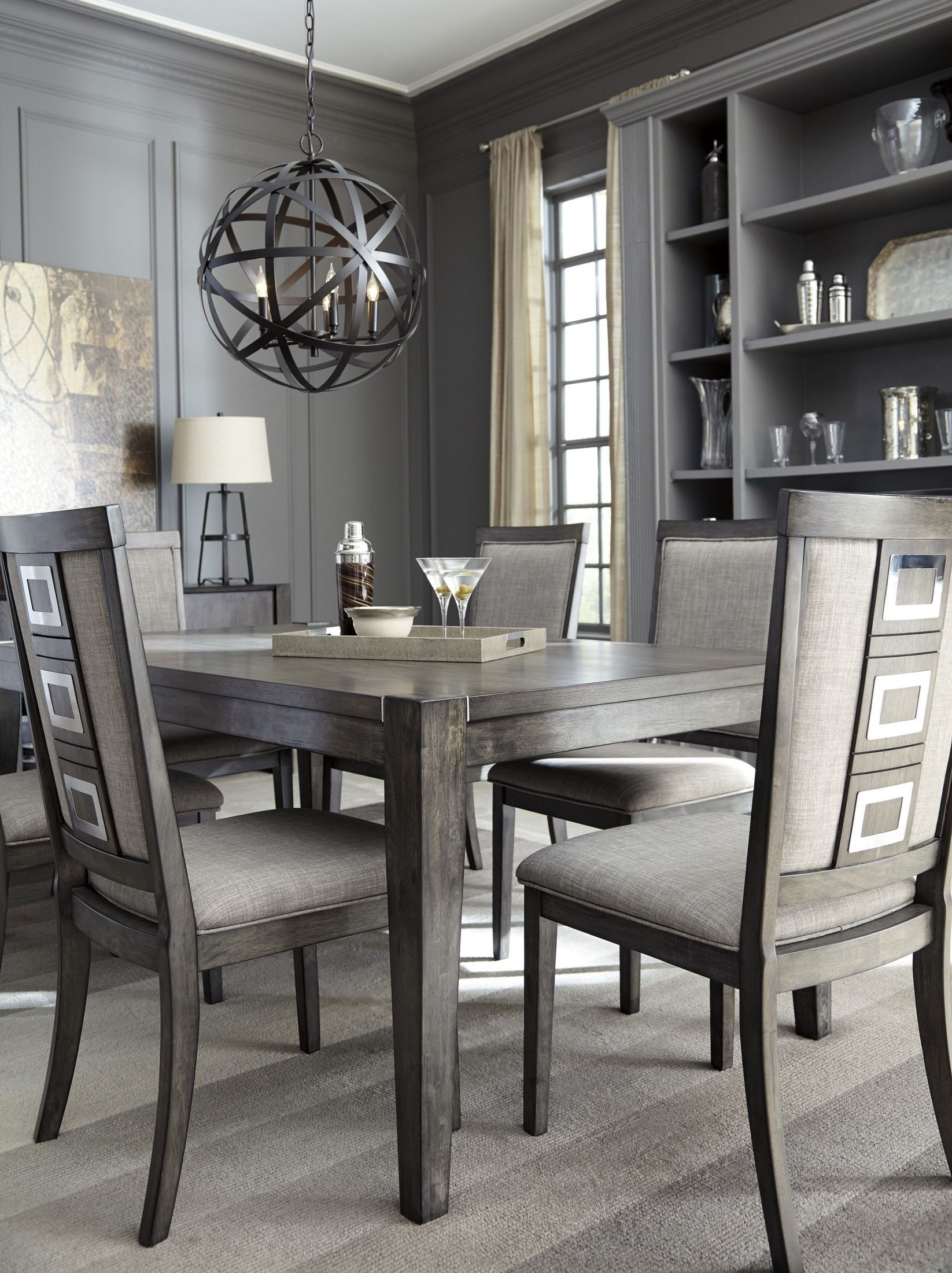 Chadoni gray rectangular extendable dining table from ashley coleman furniture - Extension tables dining room furniture ...