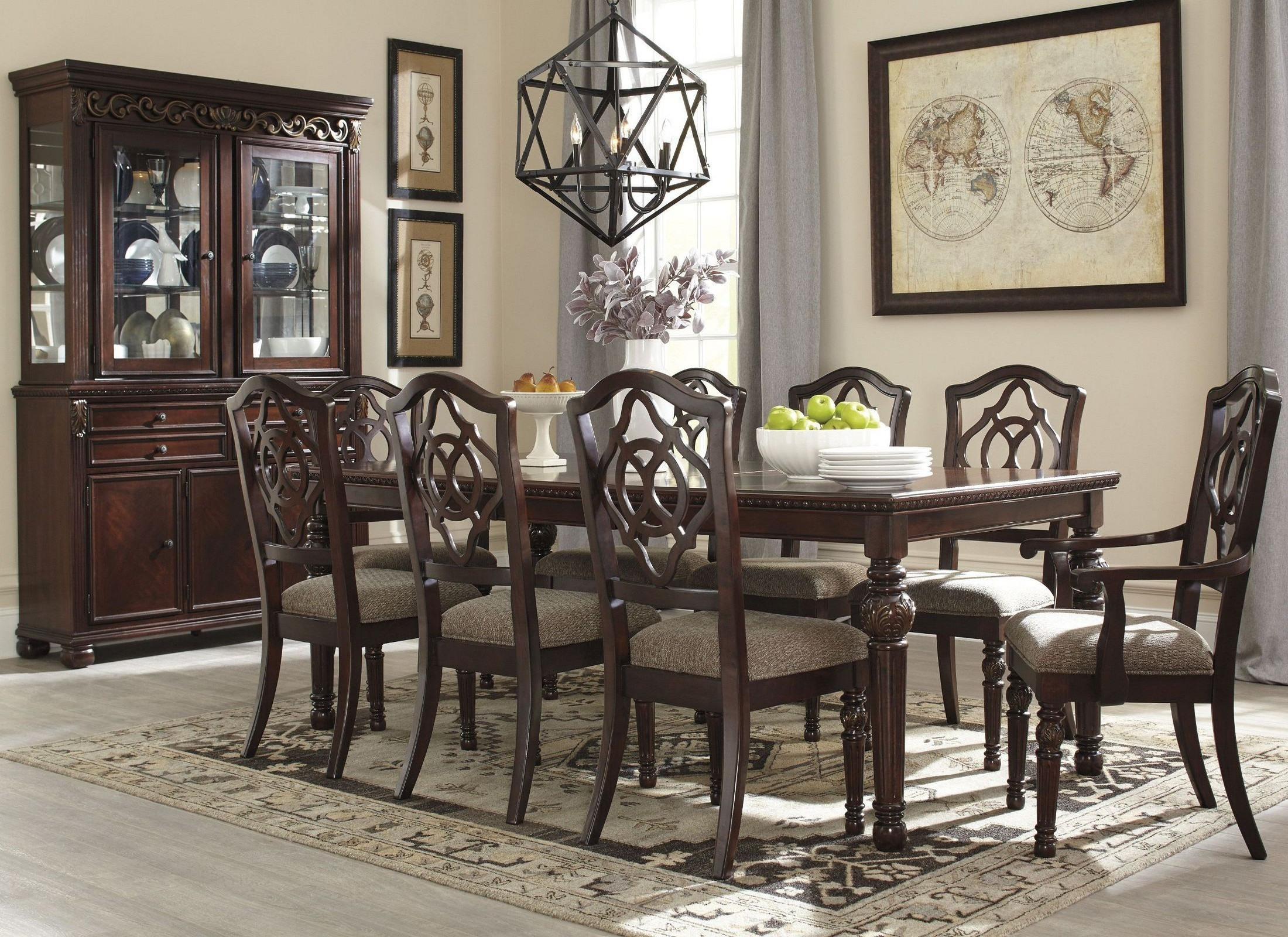 Leahlyn brown extendable rectangular dining room set from for Brown dining room set