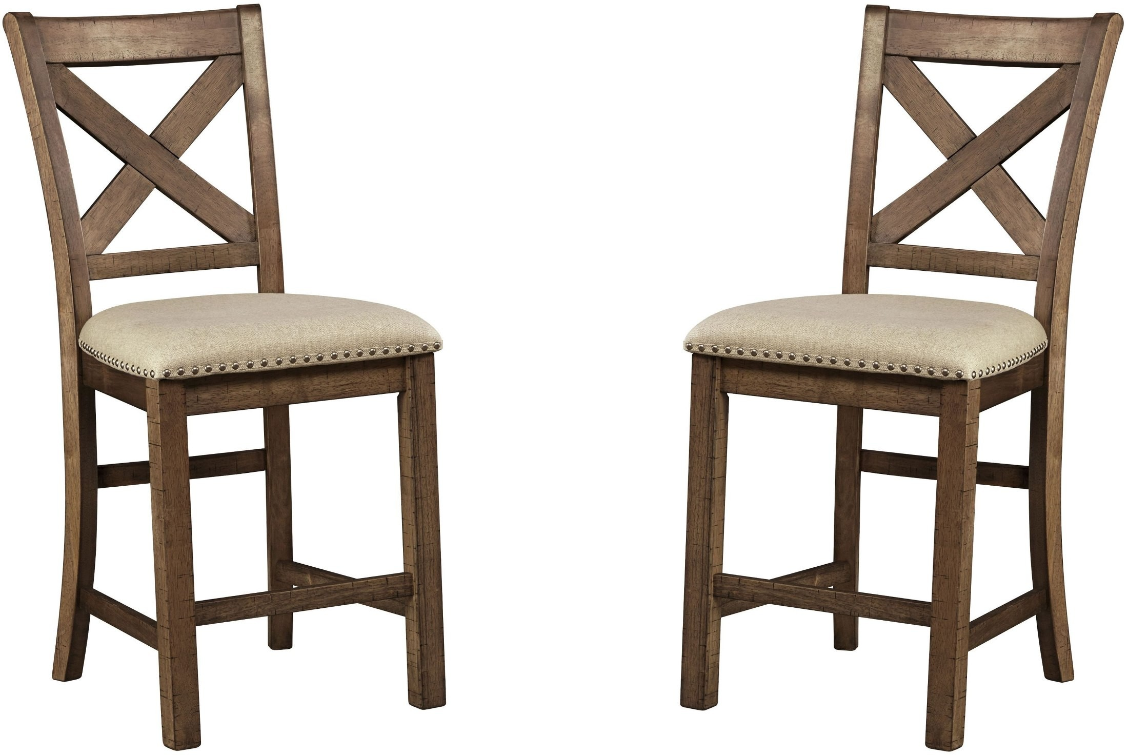 Moriville Gray Upholstered Barstool Set Of 2 From Ashley · 1928921