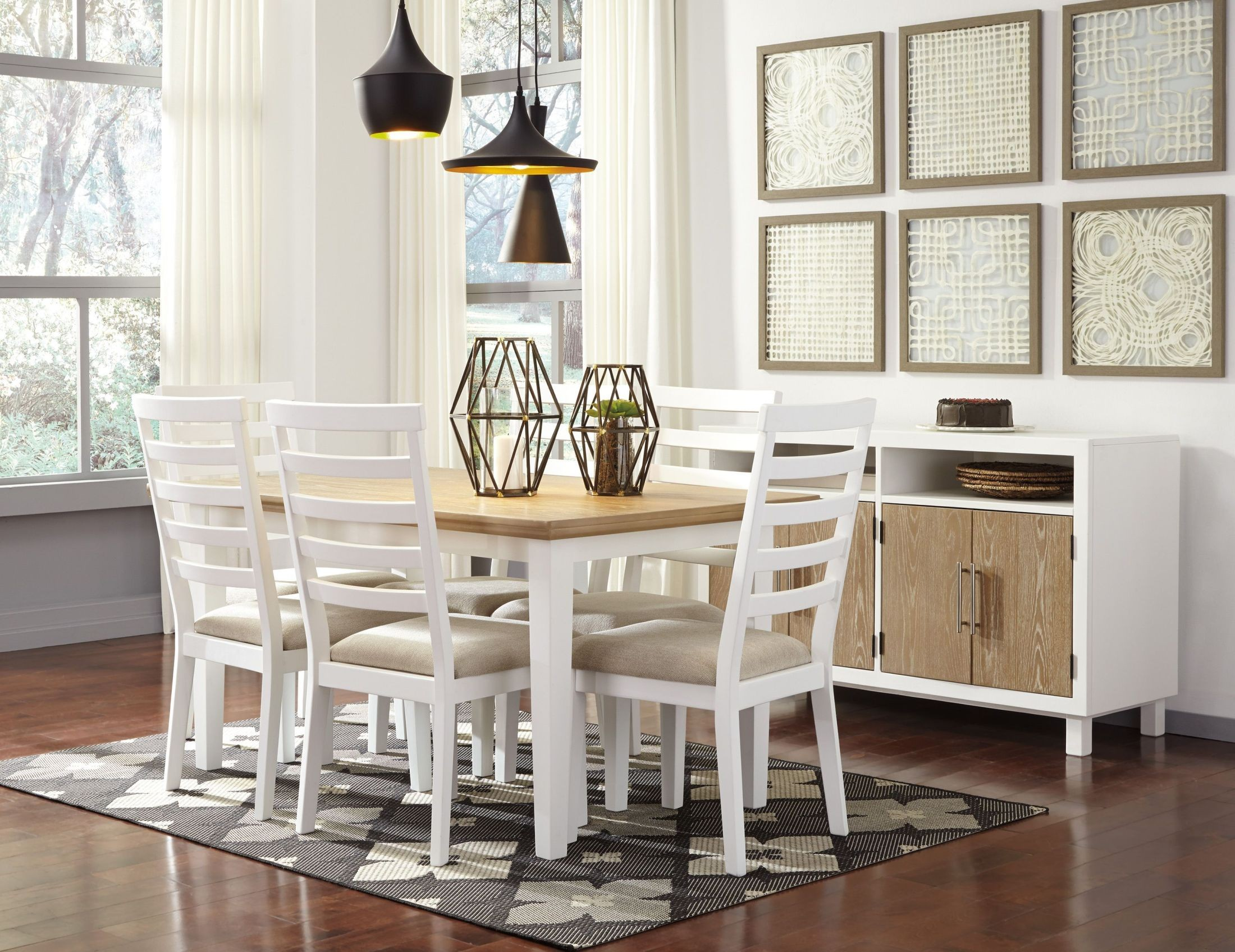 Gardomi white and light brown rectangular dining room set for Rectangular dining room light