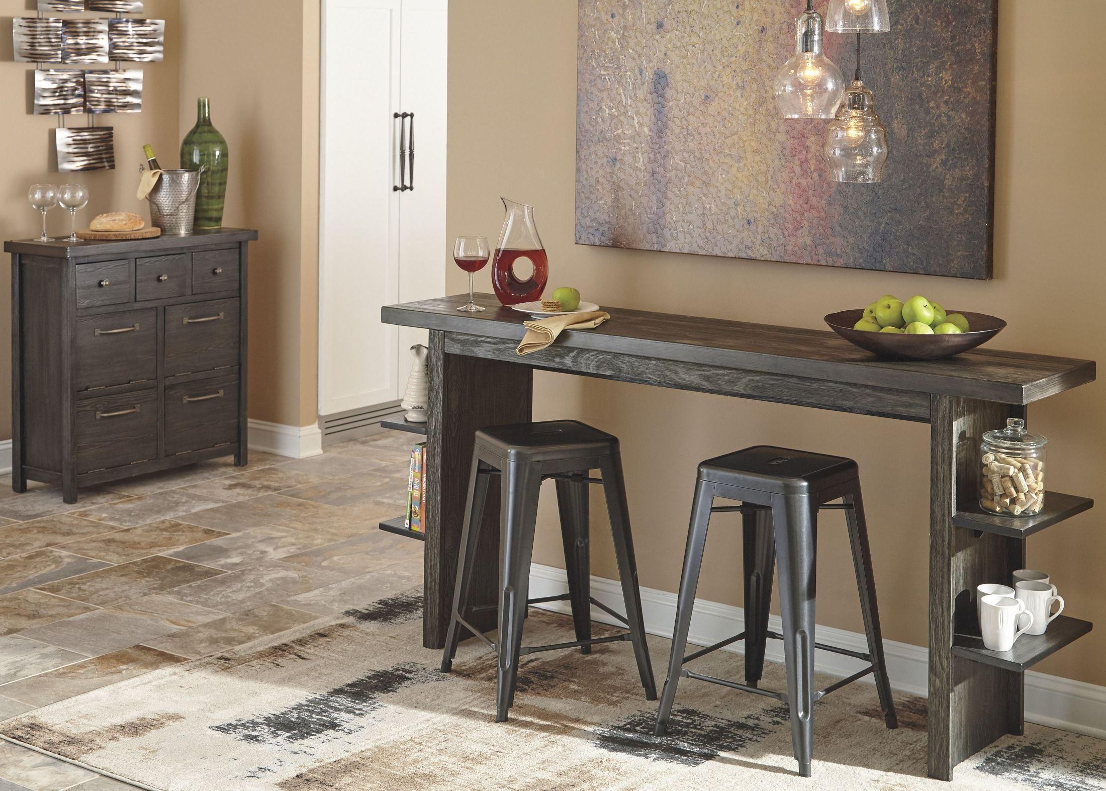 Lamoille Dark Gray Long Counter Height Dining Room Set