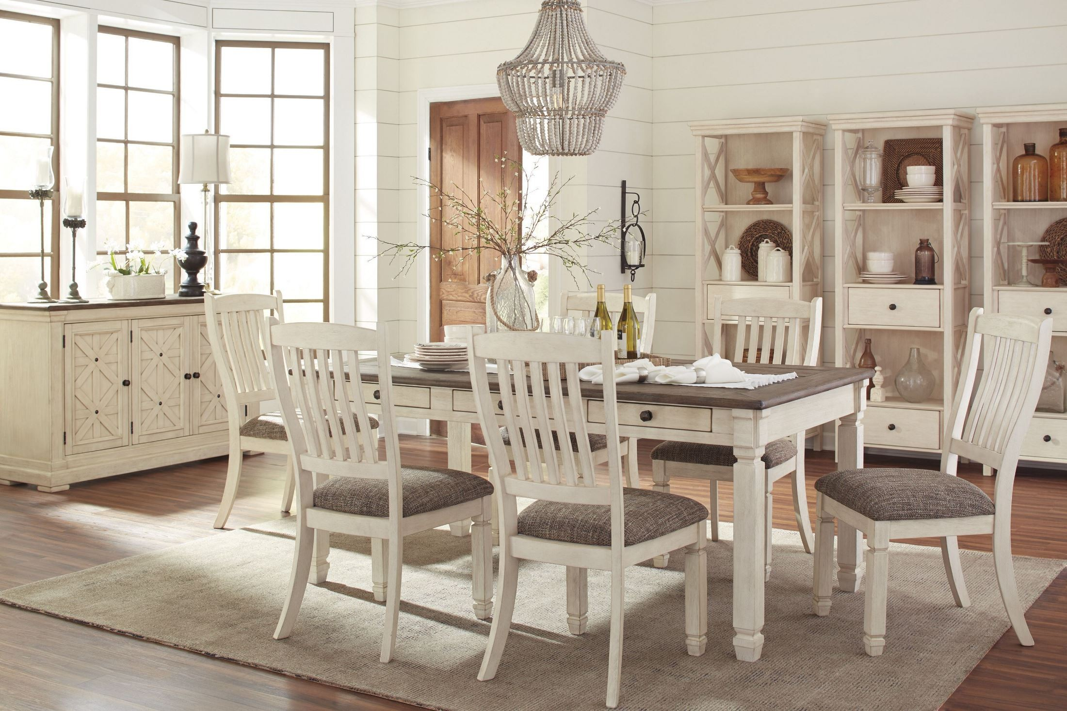 Bolanburg white and gray rectangular dining room set from for Front room furniture sets