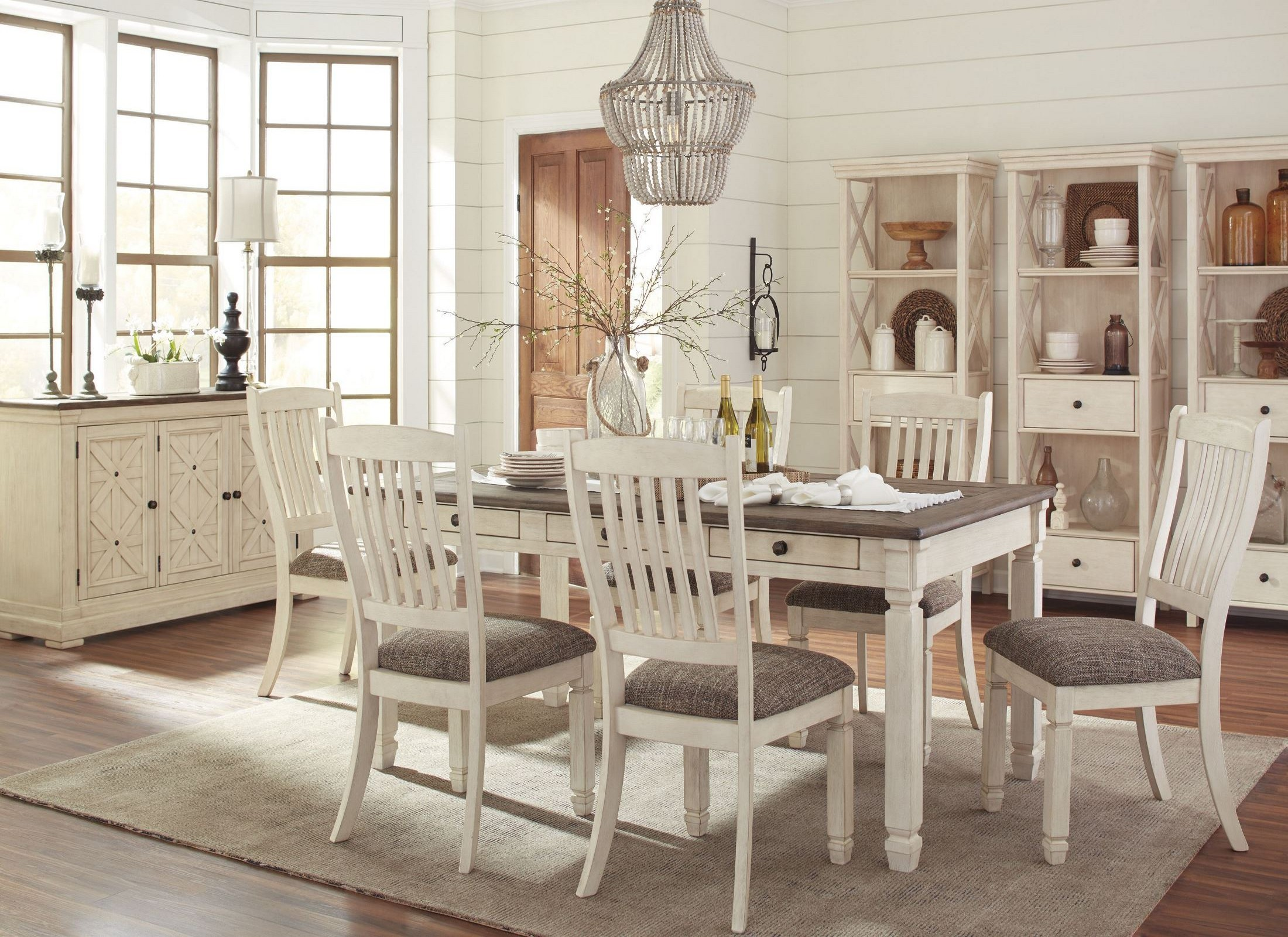 Bolanburg white and gray rectangular dining room set from for White dining room furniture