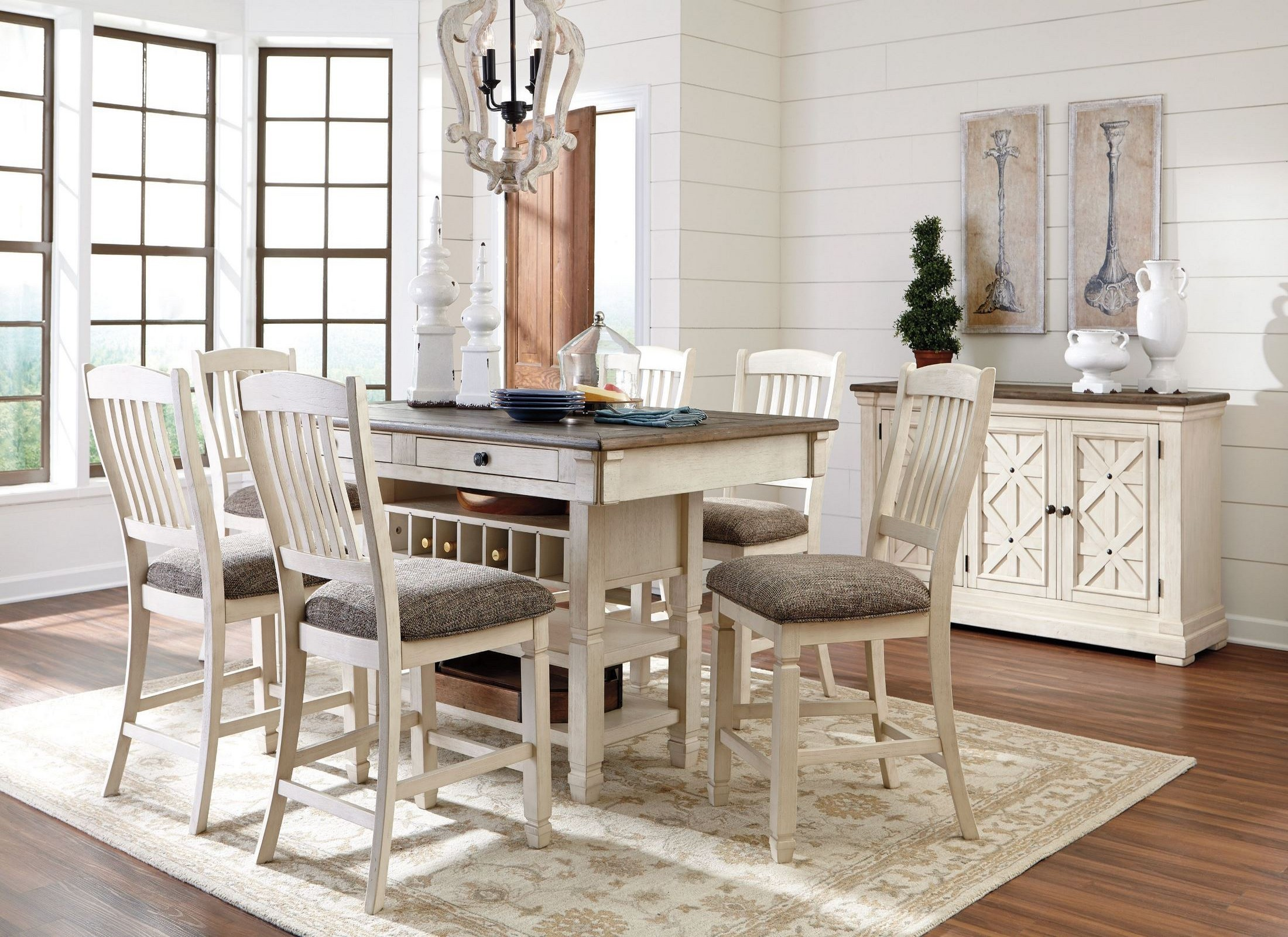 Bolanburg white and gray rectangular counter height dining for Best dining room table height