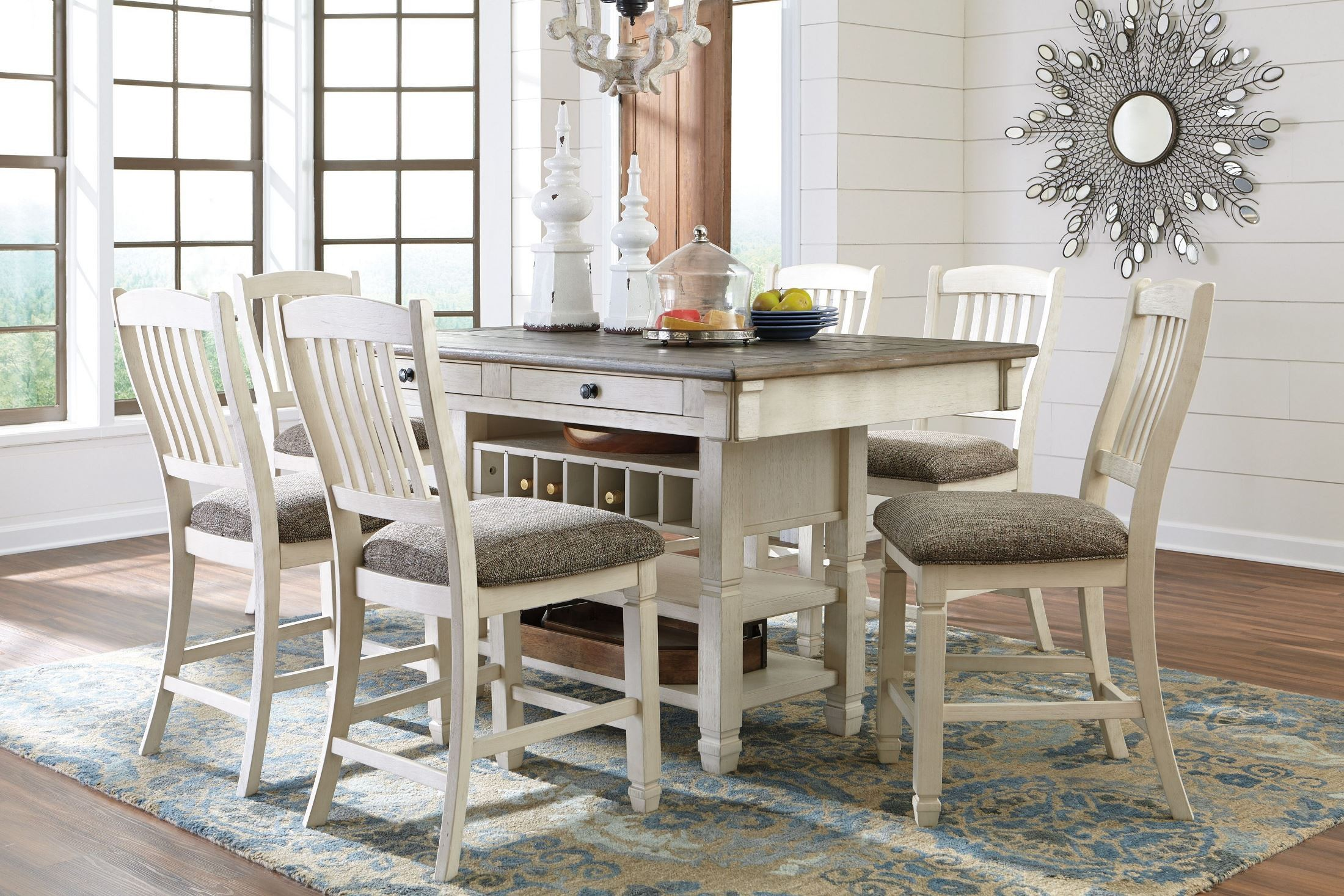 High Dining Room Sets Bolanburg White And Gray Rectangular Counter Height Dining