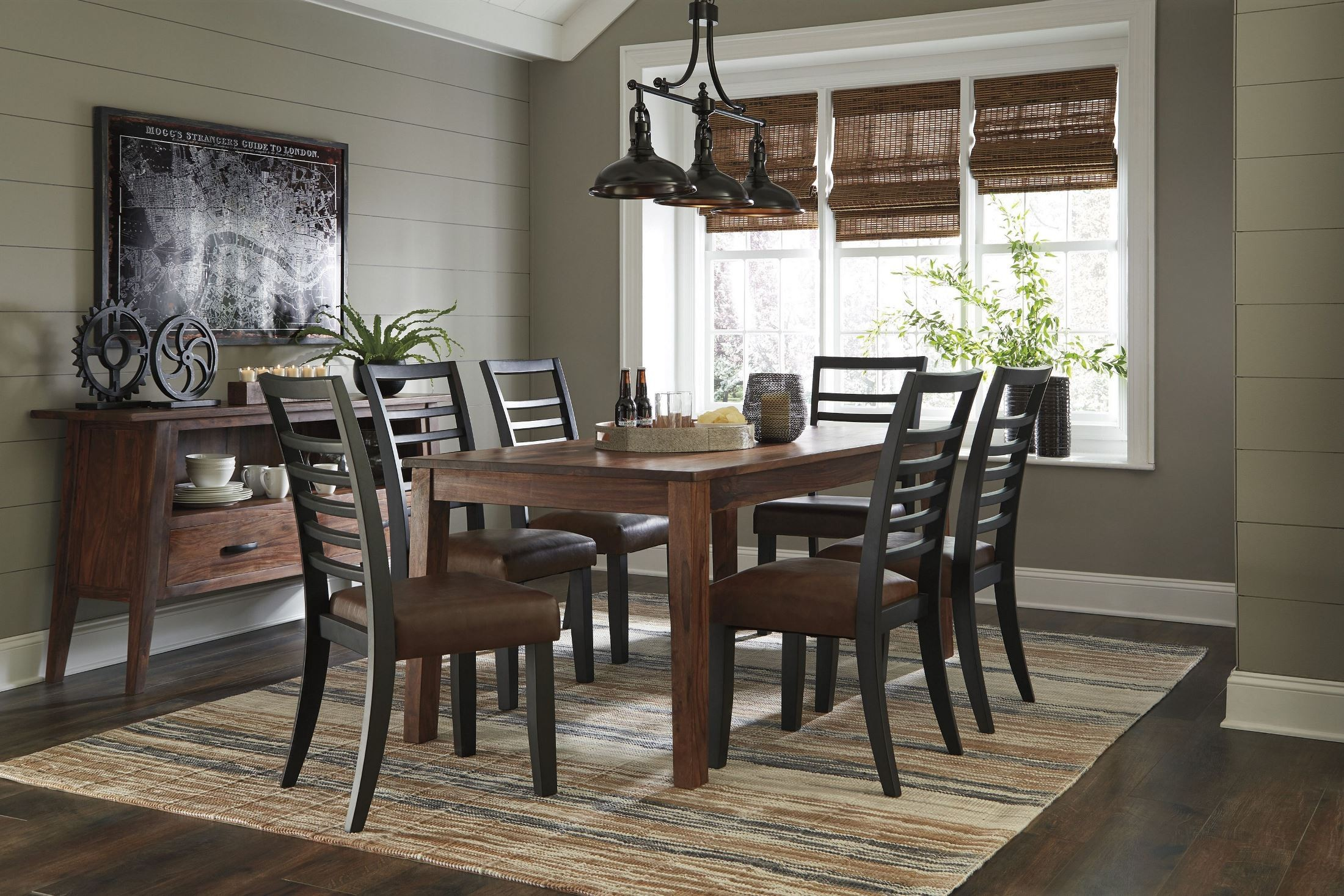 Manishore brown rectangular dining room set from ashley for Brown dining room set