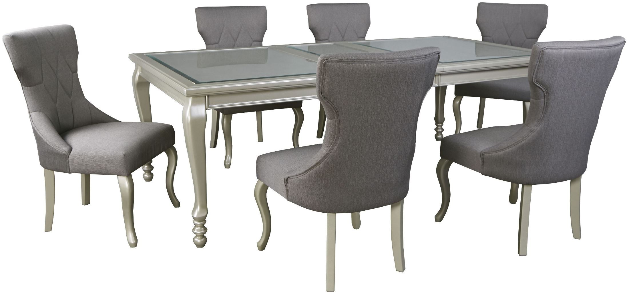 Coralayne Silver Rectangular Dining Room Extendable Dining