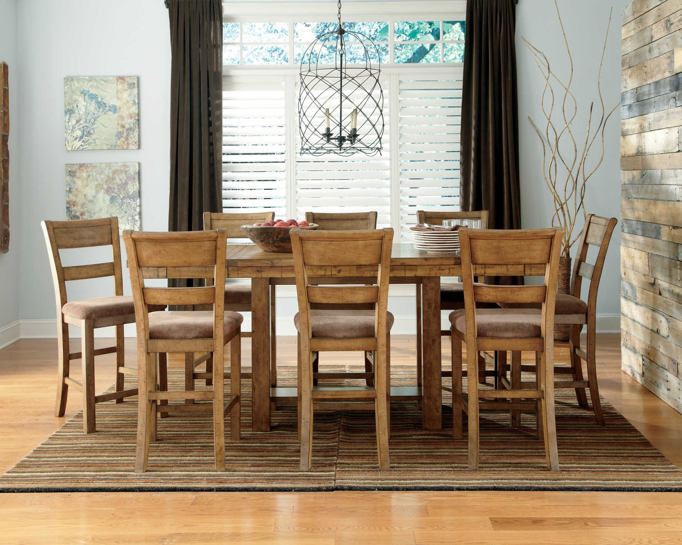 Krinden Rectangular Counter Height Extendable Dining Room Set From Ashley D653 32 Coleman