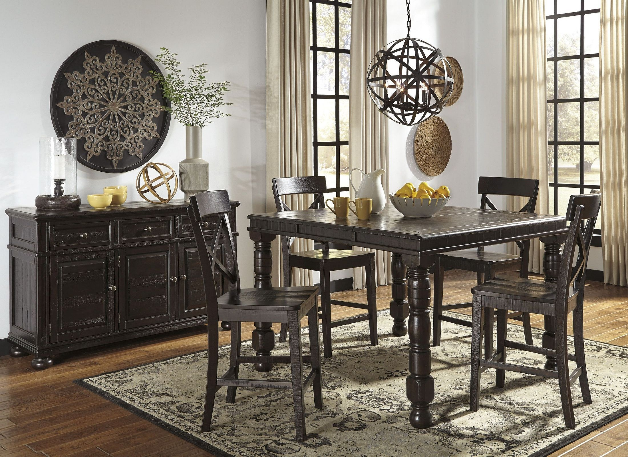 Brown Dining Room Set Of Gerlane Dark Brown Rectangular Counter Height Extendable