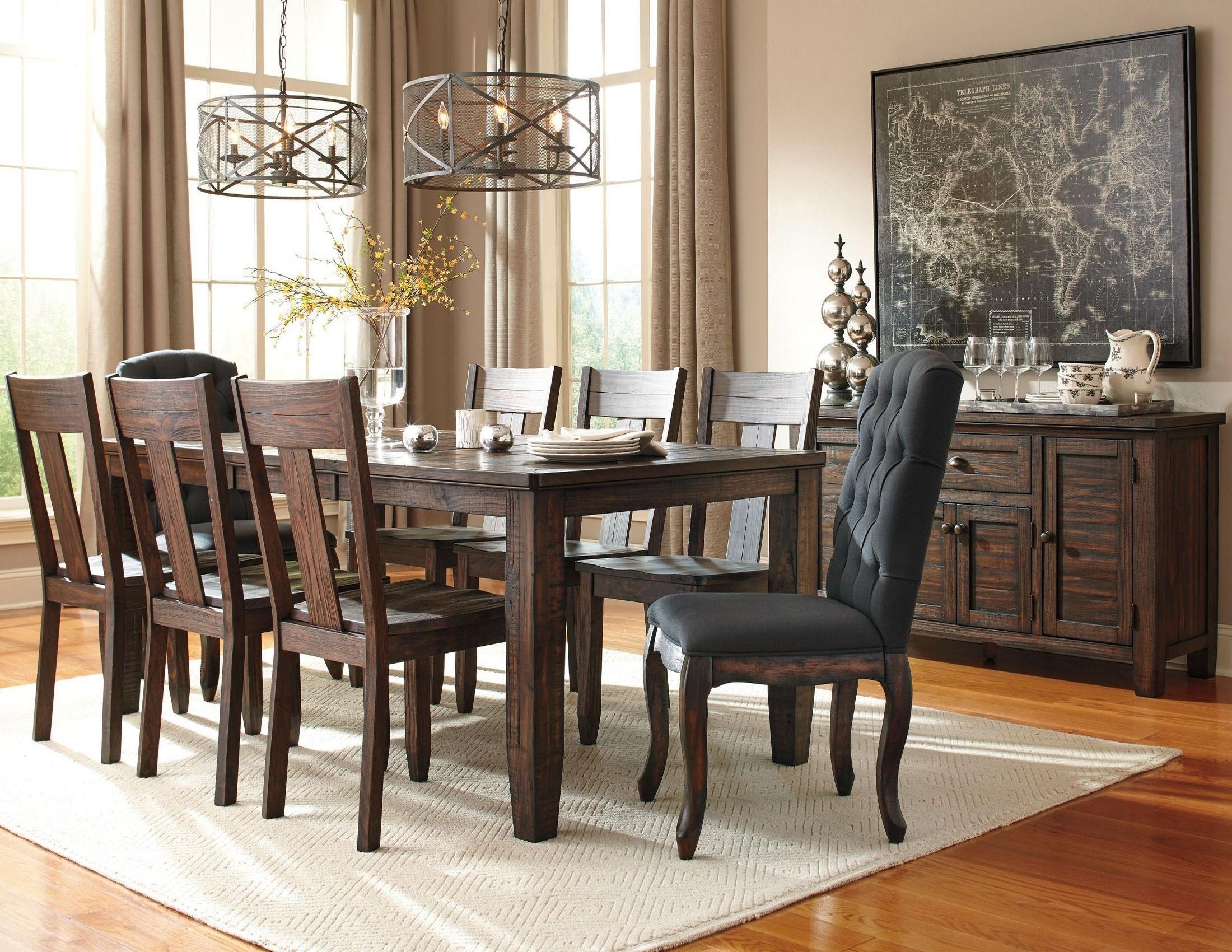 trudell dark brown rectangular extendable dining room set from ashley d658 35 coleman furniture. Black Bedroom Furniture Sets. Home Design Ideas
