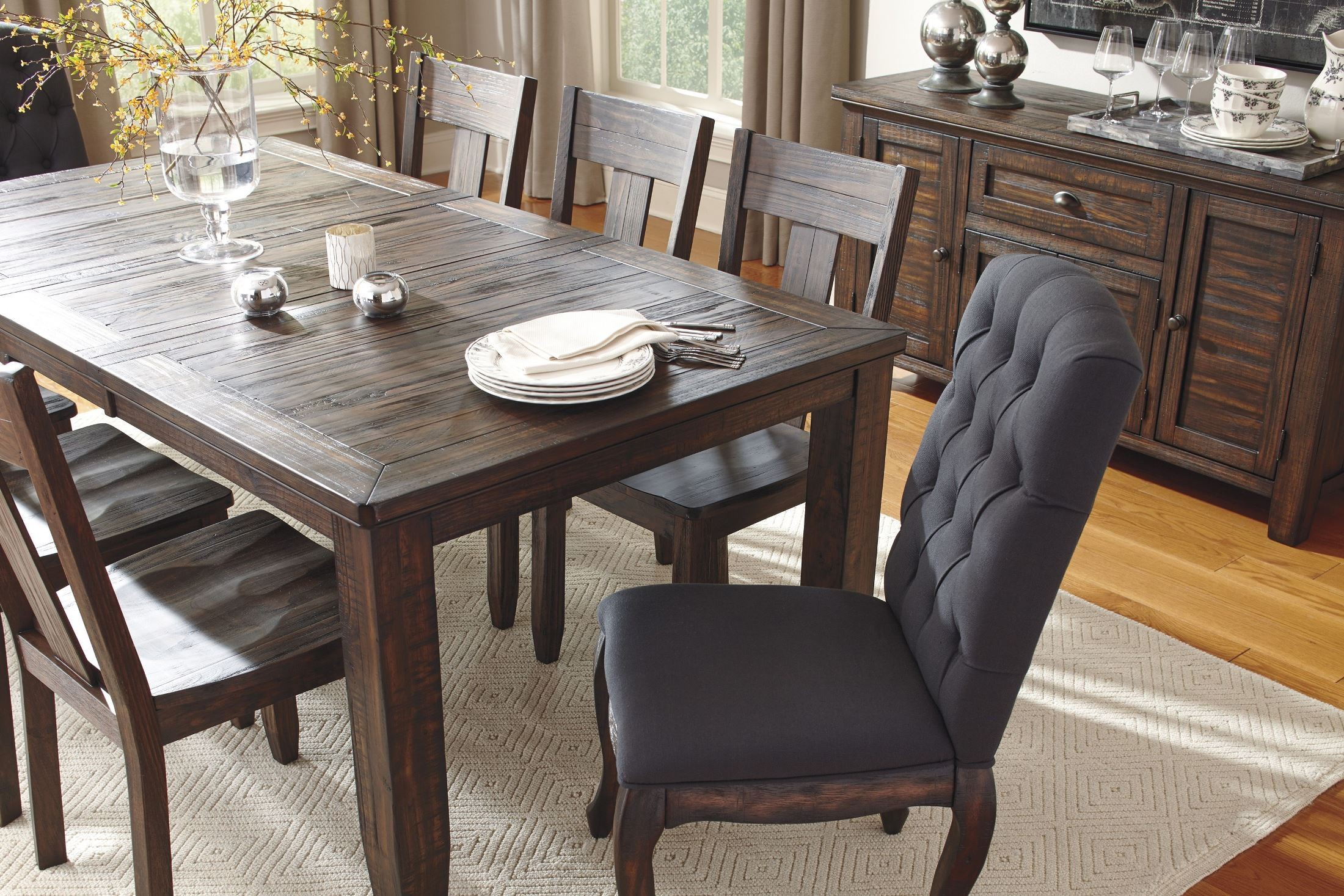 Trudell Dark Brown Rectangular Extendable Dining Table788528. 788529
