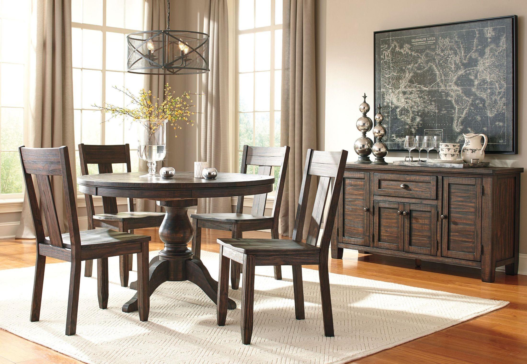 Trudell Dark Brown Round Extendable Pedestal Dining Room