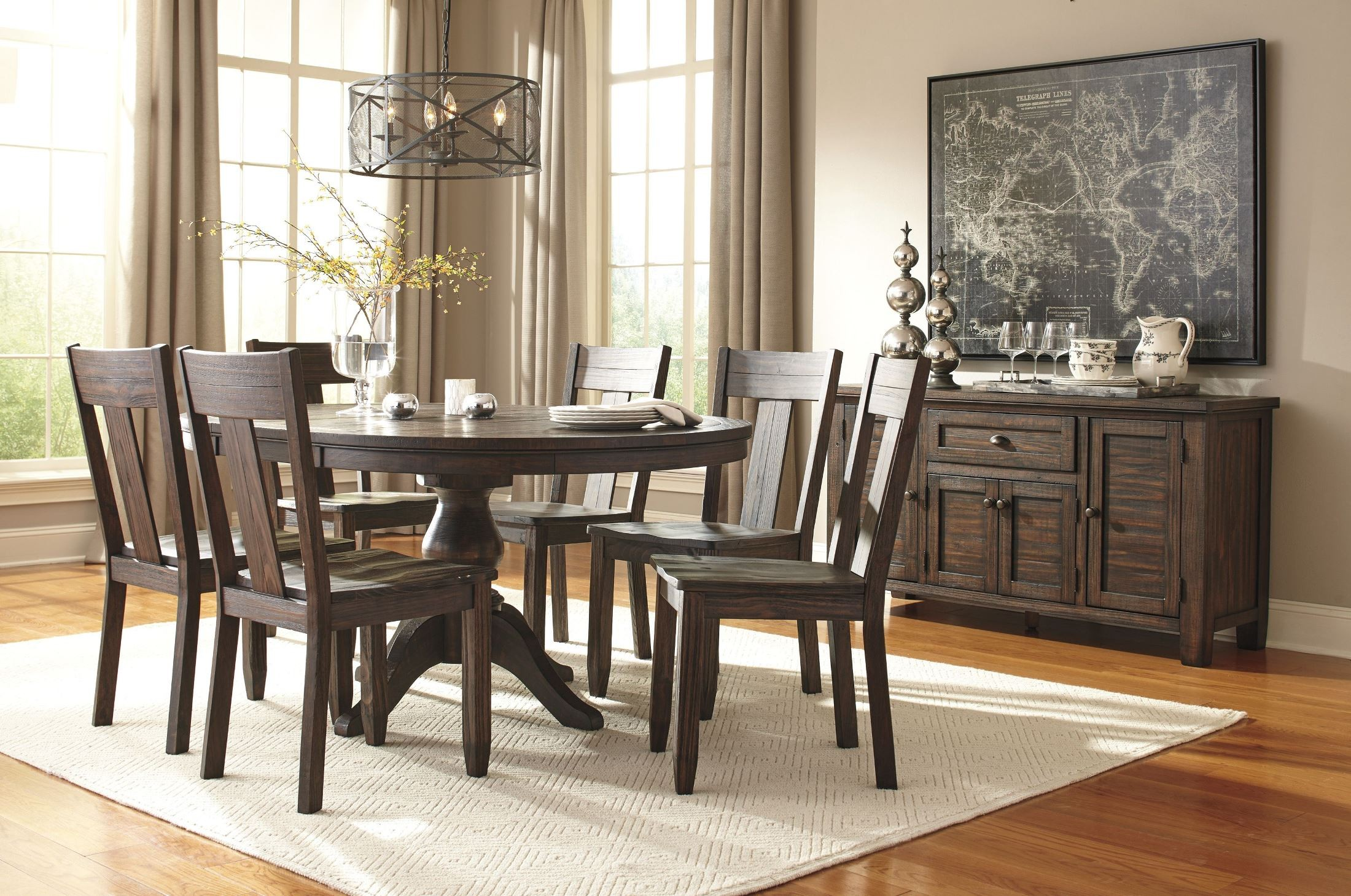 Ashley Furniture Formal Dining Sets trudell dark brown round extendable pedestal dining table from