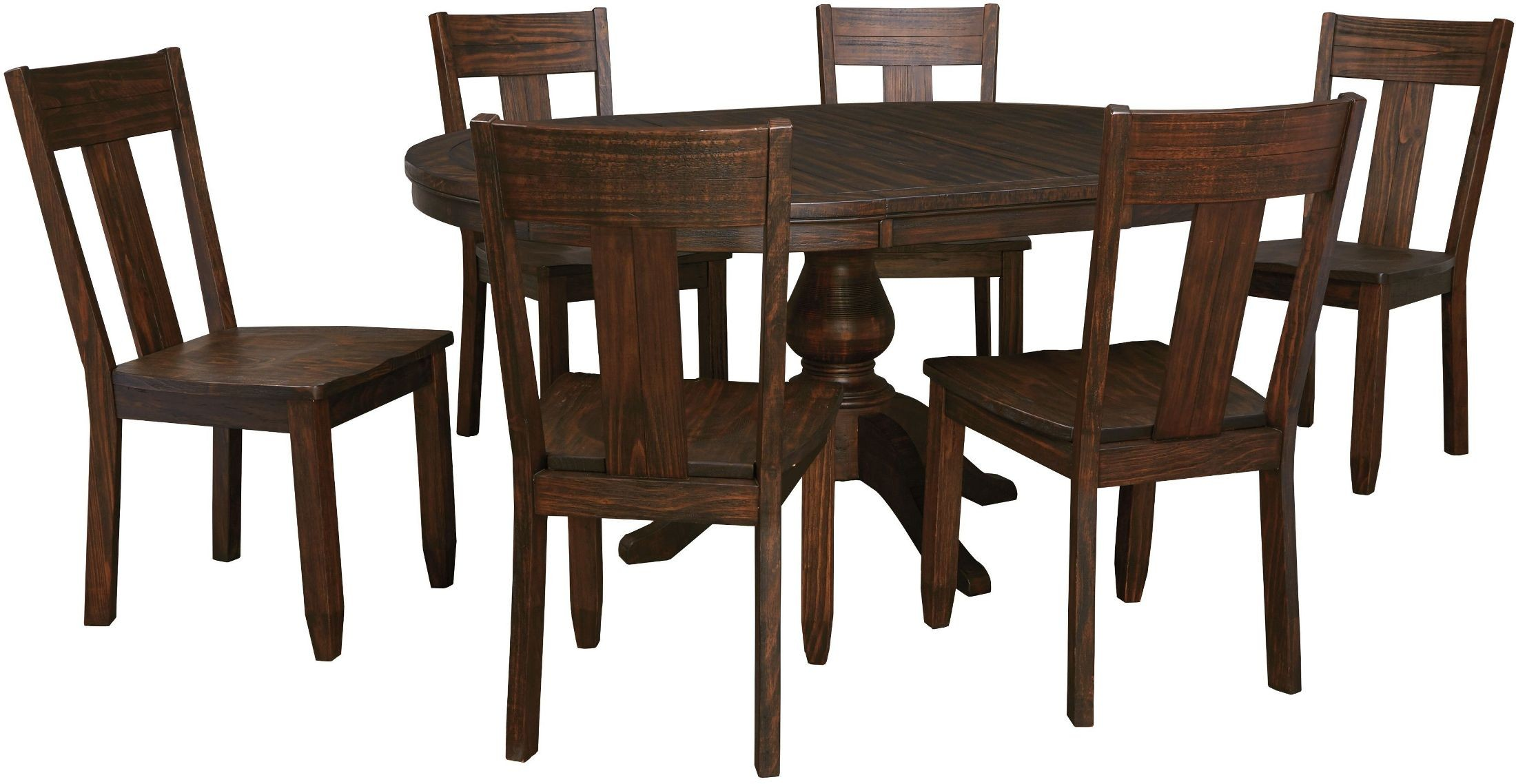 Trudell dark brown round extendable pedestal dining room for Brown dining table set