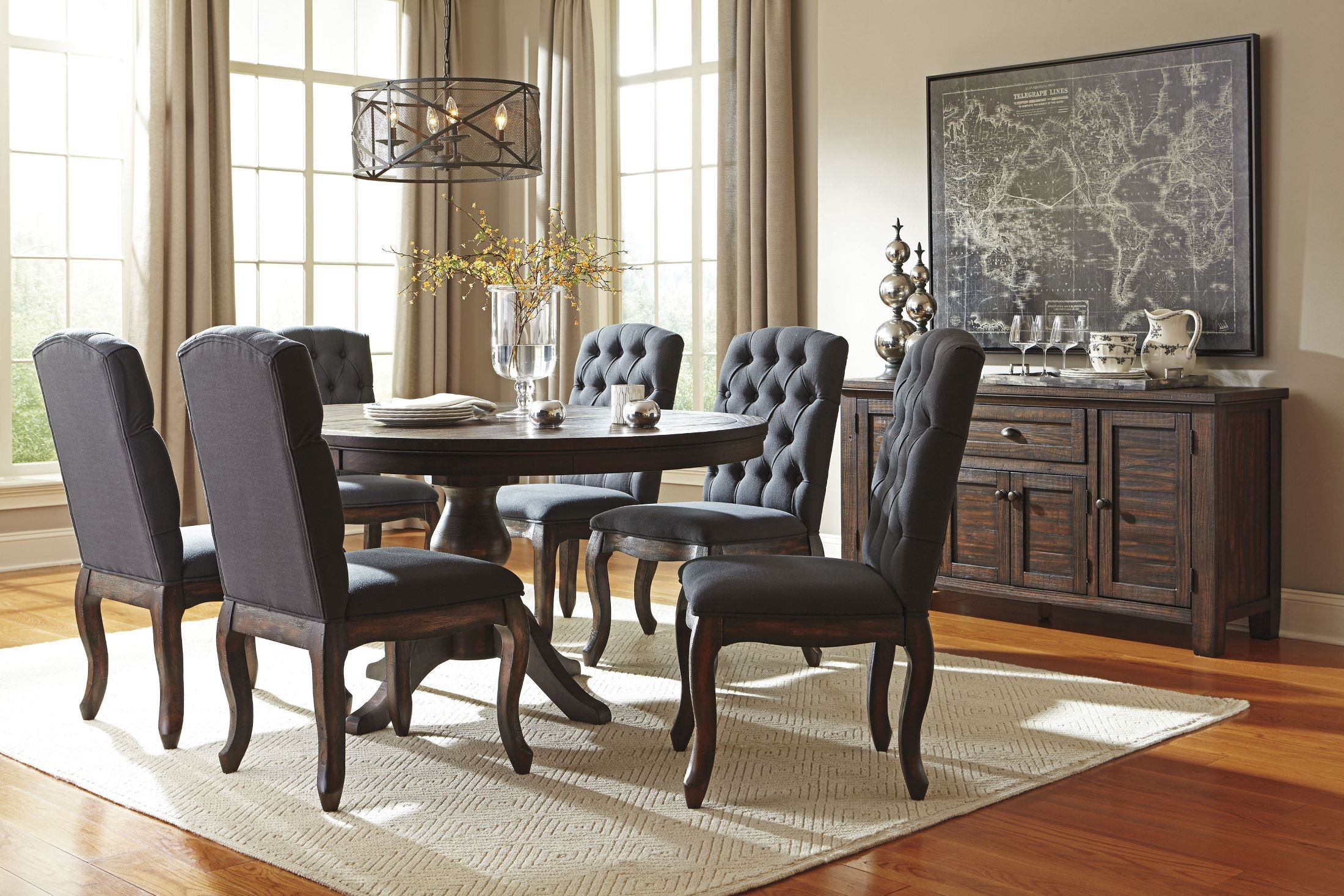 Trudell dark brown dining room server from ashley d658 60 for Dark brown dining room