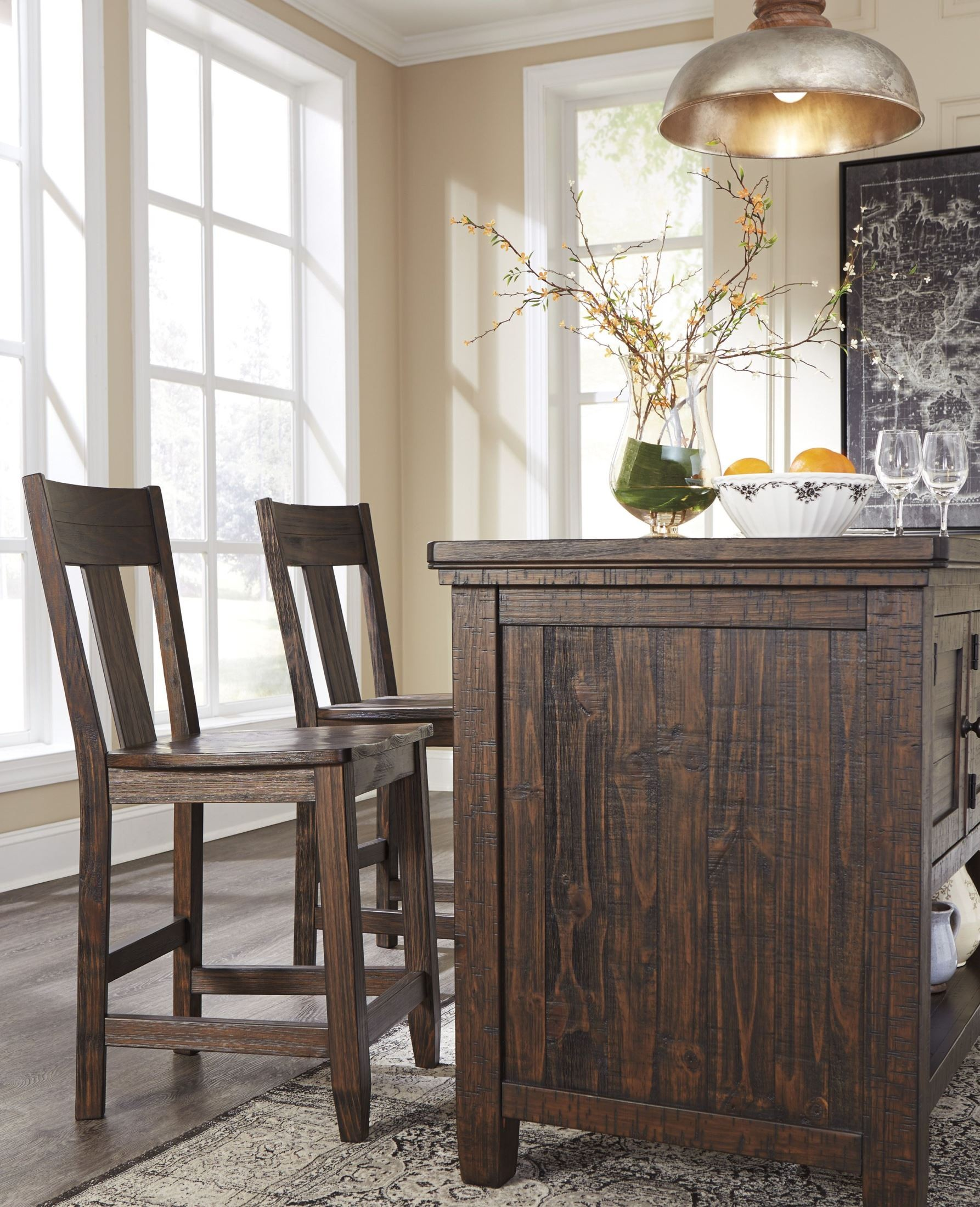 trudell dark brown rectangular storage counter height dining table from ashley coleman furniture. Black Bedroom Furniture Sets. Home Design Ideas